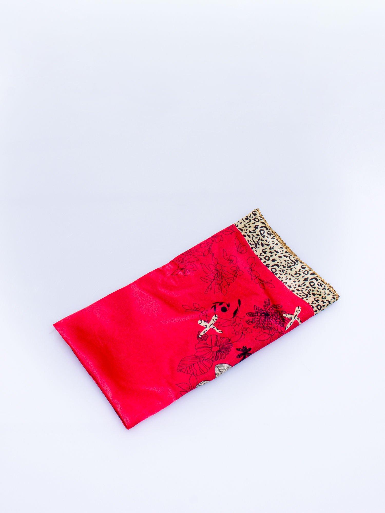 db62592a9eef2b Czerwona chusta apaszka z pasem w cętki panterki - Akcesoria chusta ...