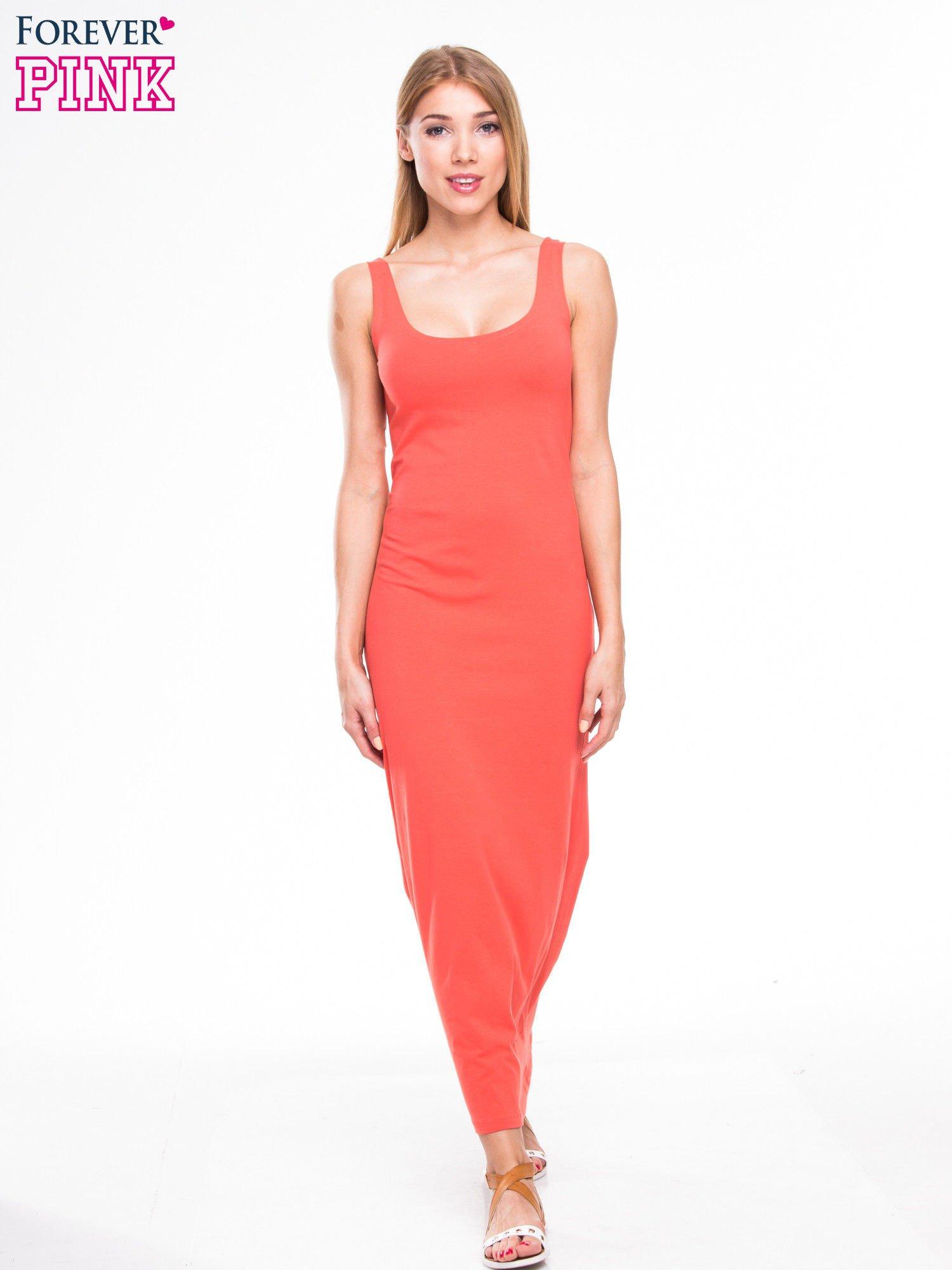 Czerwona długa sukienka maxi na ramiączkach                                  zdj.                                  2