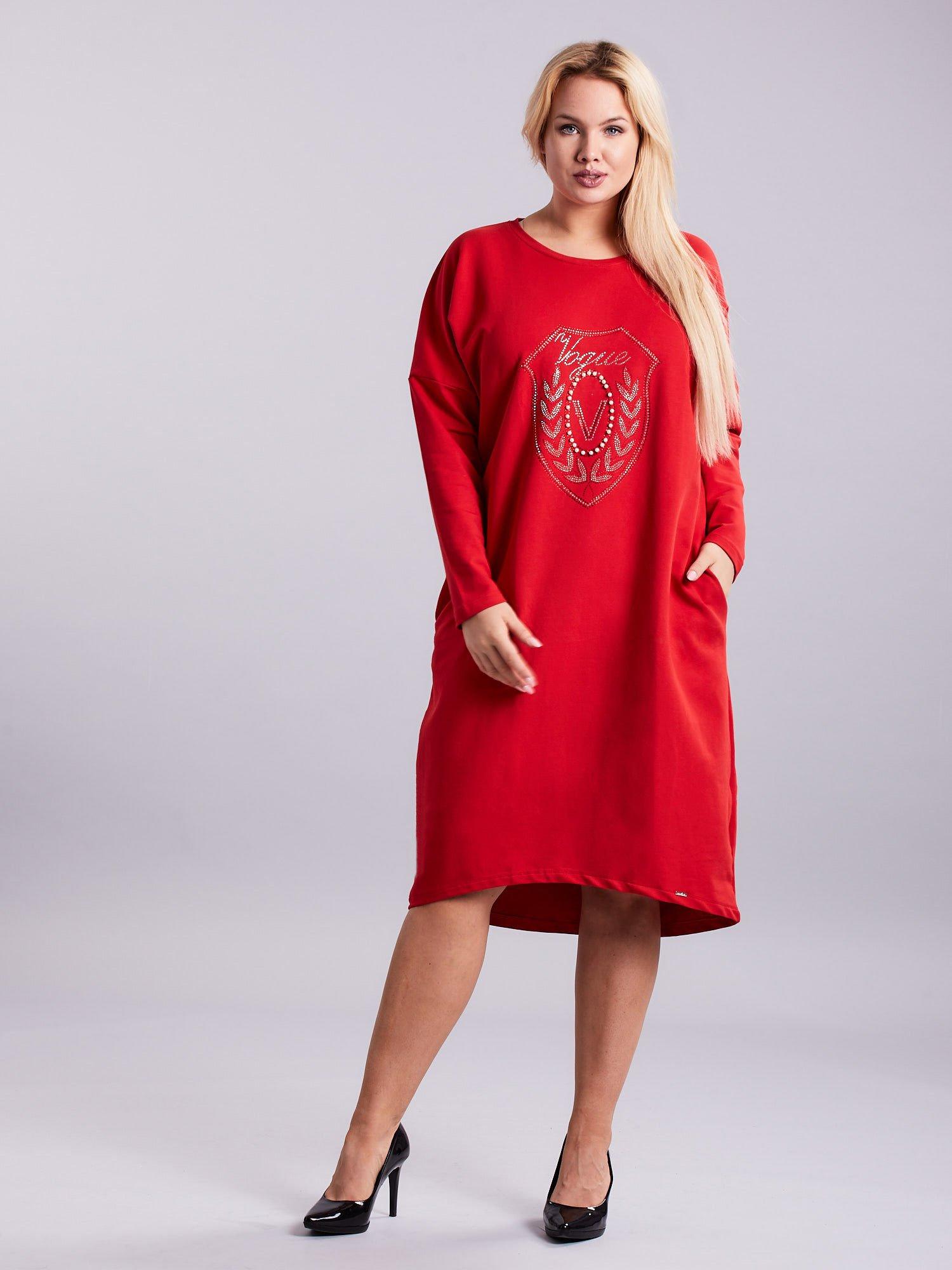 01b0c65a Czerwona dresowa sukienka z kieszeniami PLUS SIZE - Sukienka plus ...