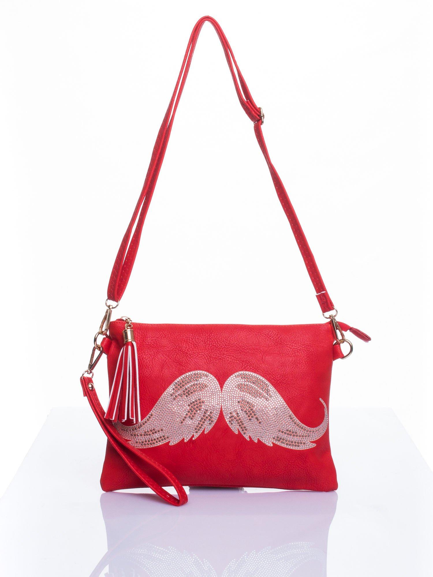 Czerwona kopertówka z dżetami motyw wąsów                                  zdj.                                  3