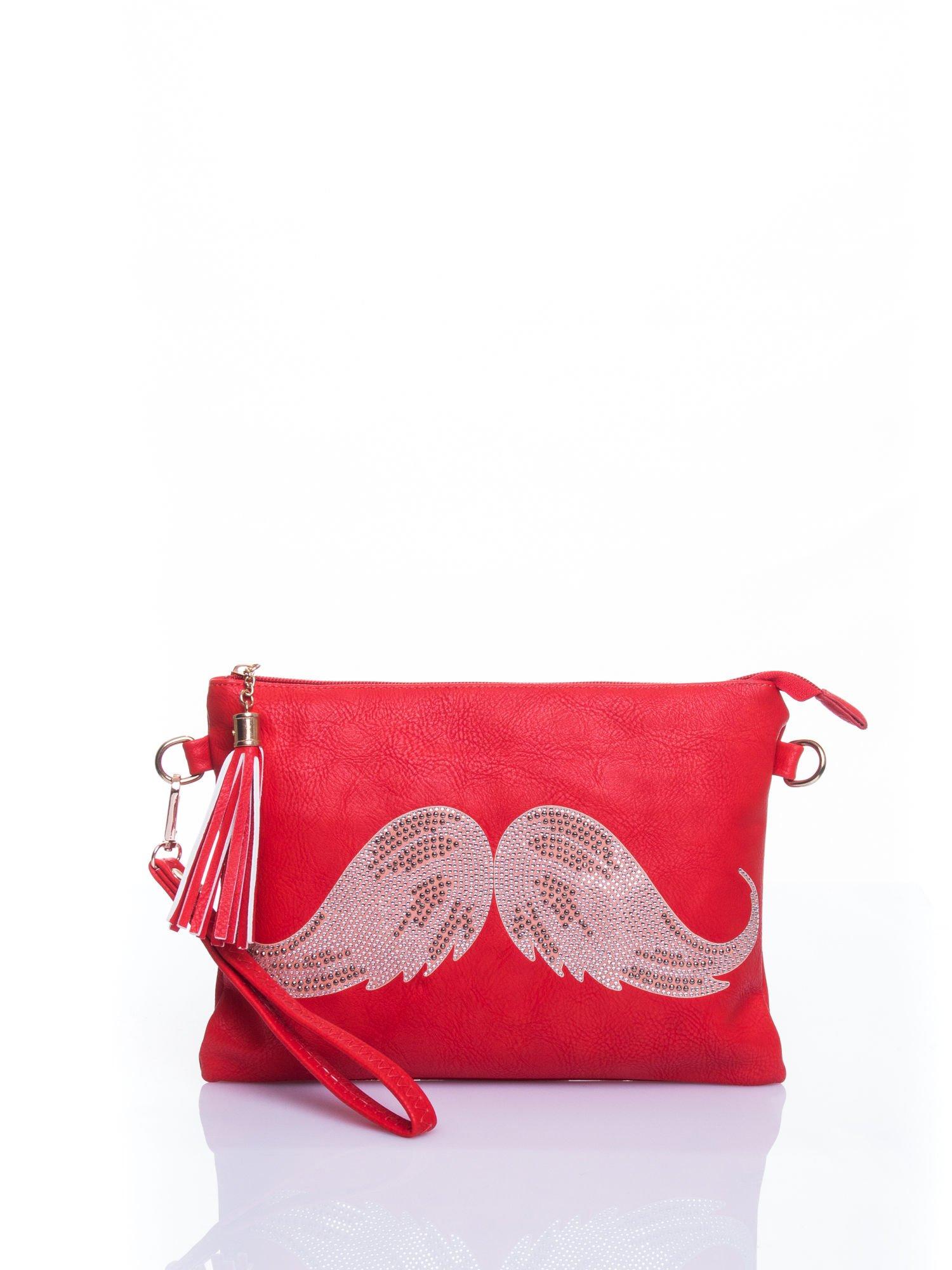 Czerwona kopertówka z dżetami motyw wąsów                                  zdj.                                  1
