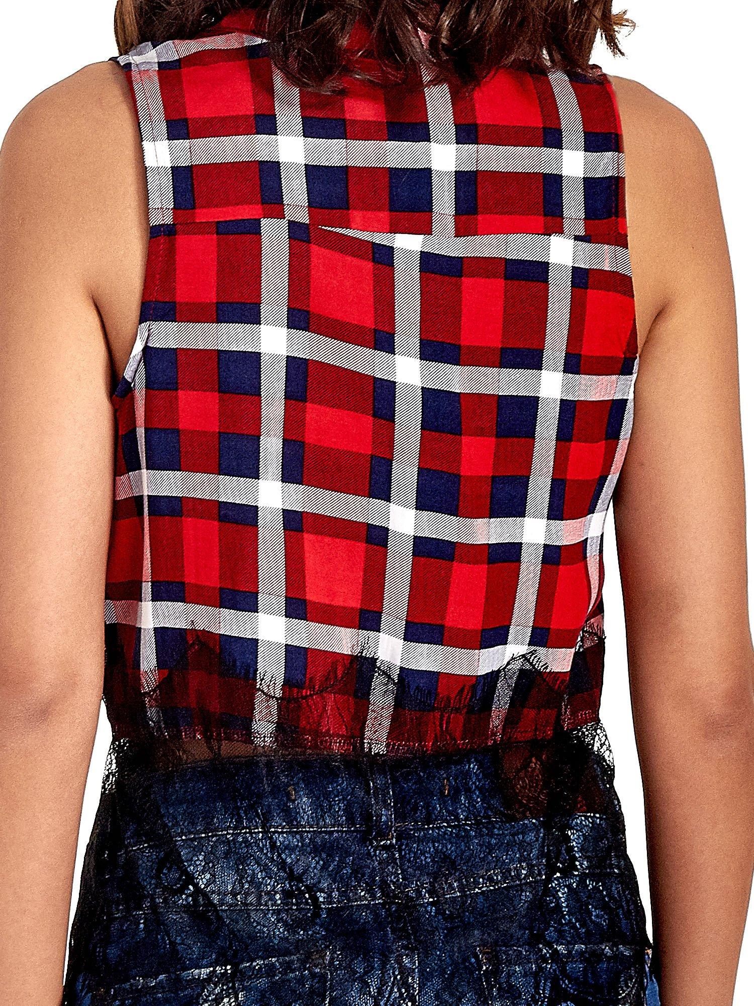Czerwona koszula w kratę z koronkowym dołem                                  zdj.                                  5