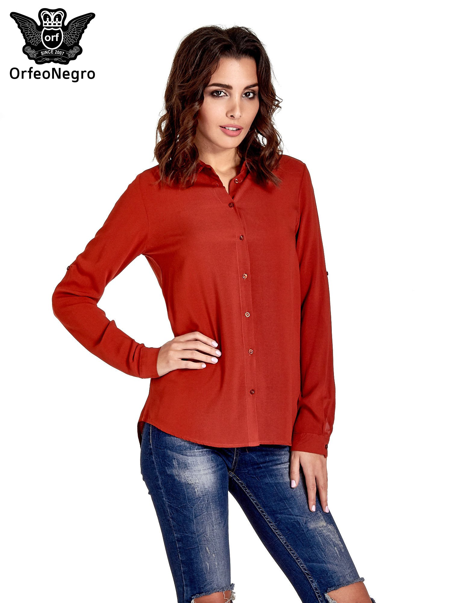 Czerwona koszula z haftowanym kołnierzykiem                                  zdj.                                  1