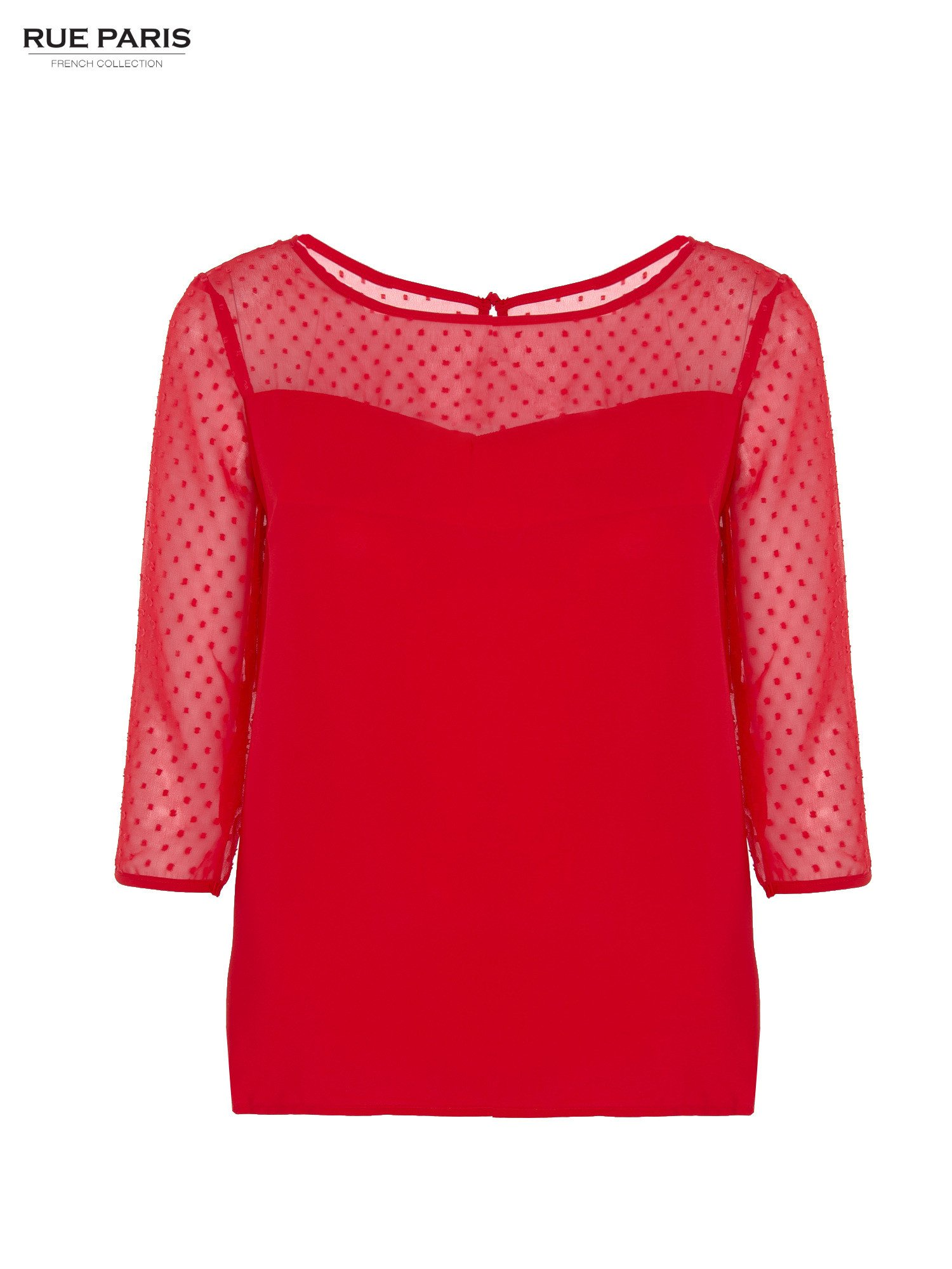 Czerwona koszula z przezroczystym materiałem w groszki                                  zdj.                                  1