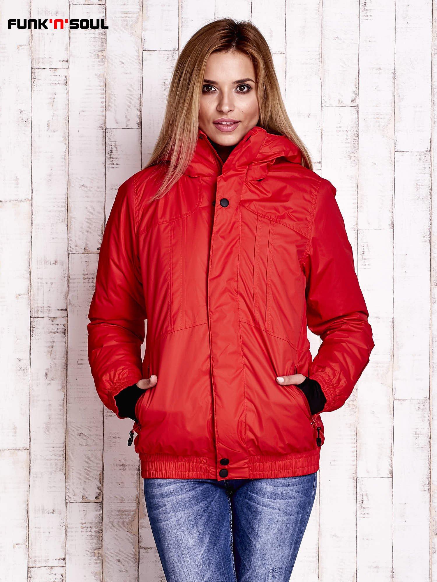 Czerwona ocieplana kurtka narciarska z kapturem FUNK N SOUL                                  zdj.                                  1
