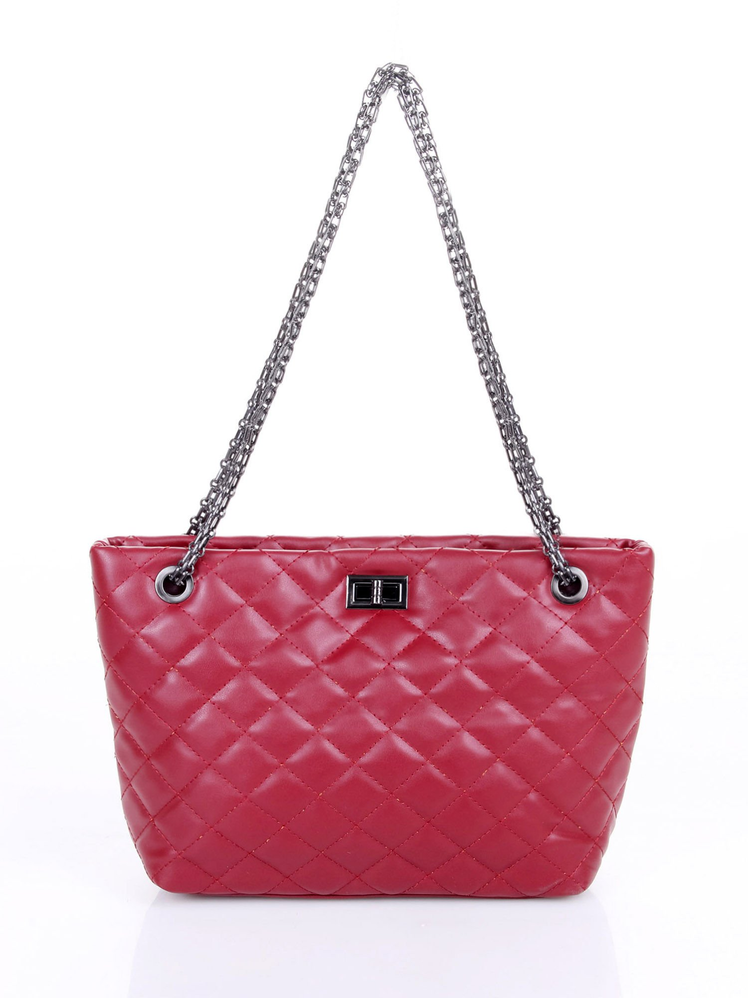 Czerwona pikowana torebka na łańcuszku                                  zdj.                                  4