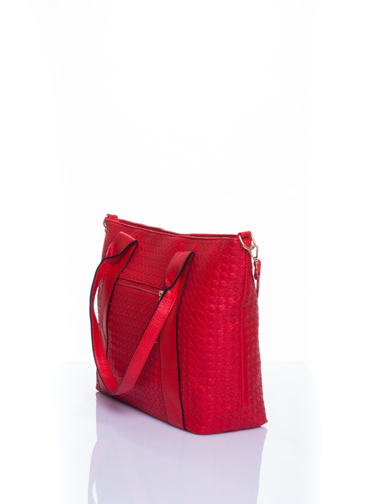 Czerwona pleciona torebka z suwakami                                  zdj.                                  4
