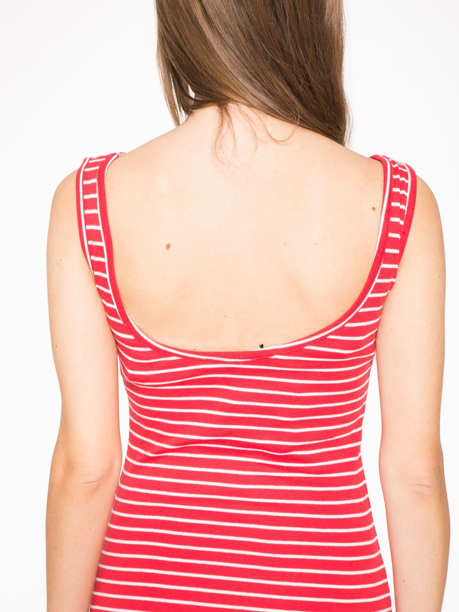 Czerwona prosta długa sukienka w paski z bawełny                                  zdj.                                  6