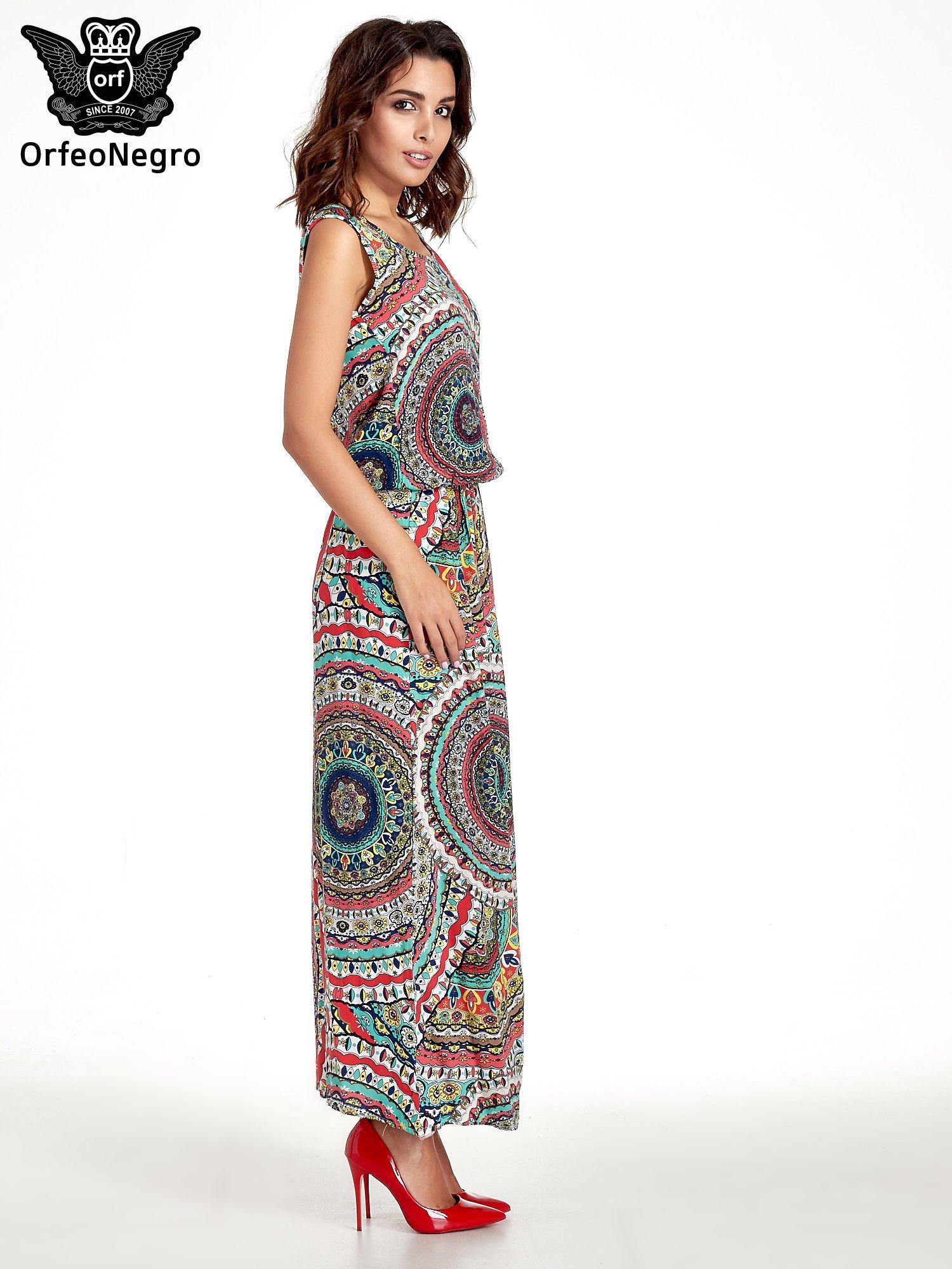 Czerwona sukienka maxi w etniczne wzory                                  zdj.                                  3
