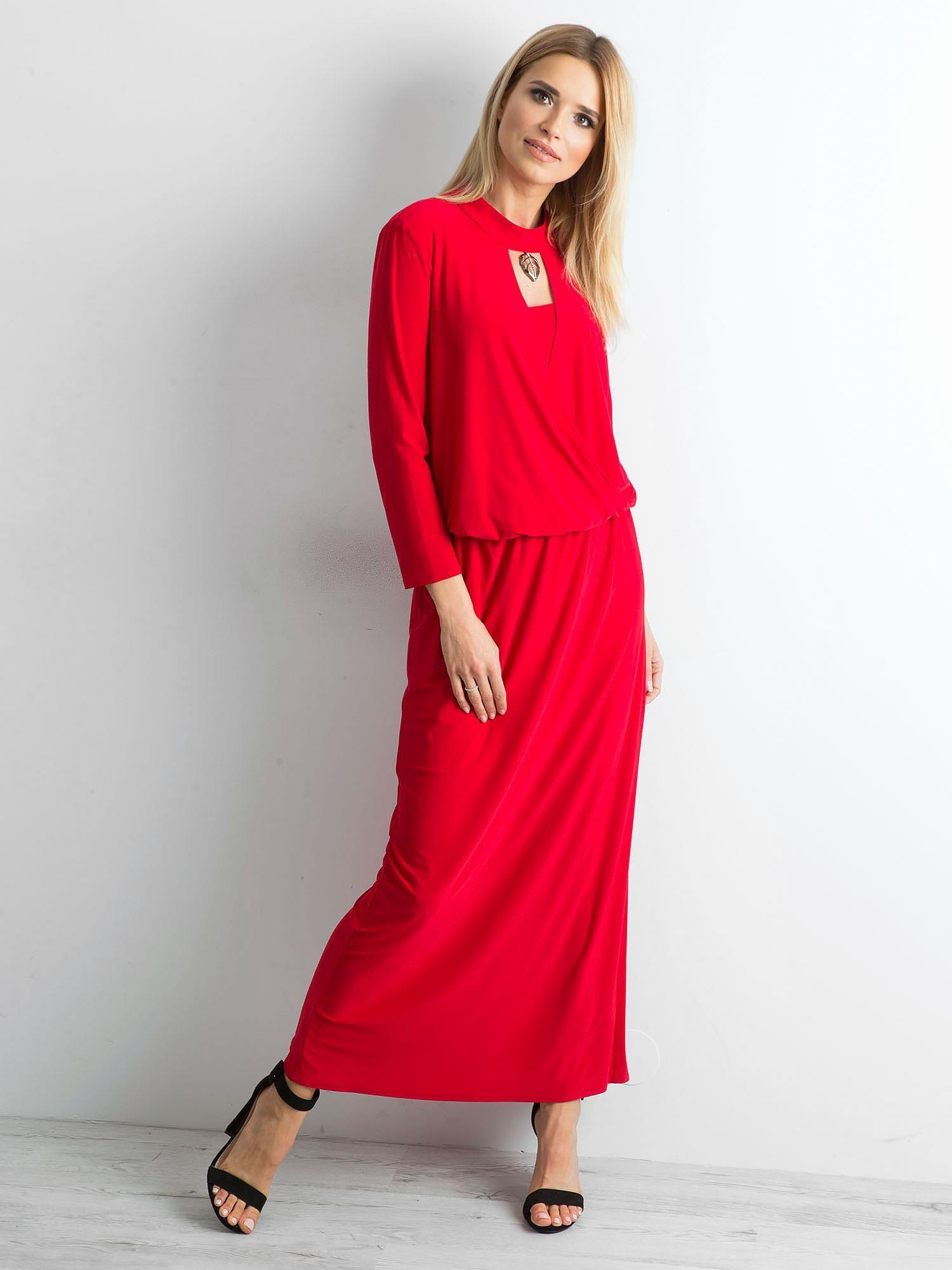 e988b9c298 Czerwona sukienka maxi z wycięciem - Sukienka wieczorowa - sklep ...
