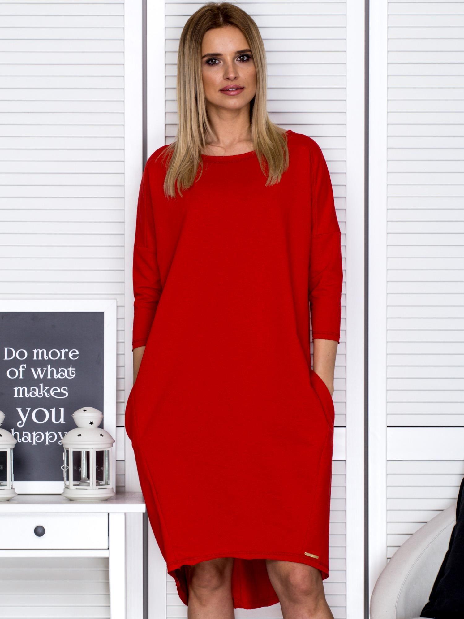 69a87310a8 Czerwona sukienka oversize z kieszeniami - Sukienka dzianinowa ...