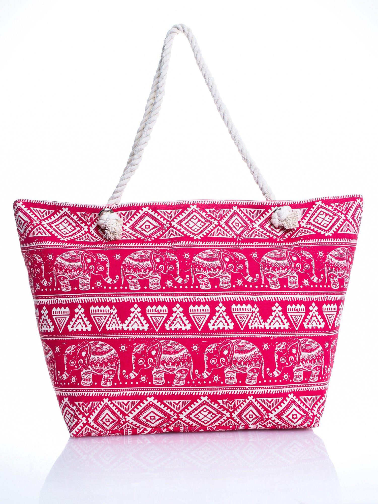 Czerwona torba plażowa w indyjskie wzory                                  zdj.                                  5