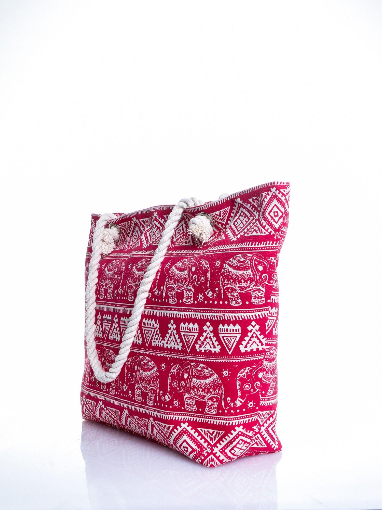 Czerwona torba plażowa w indyjskie wzory                                  zdj.                                  4