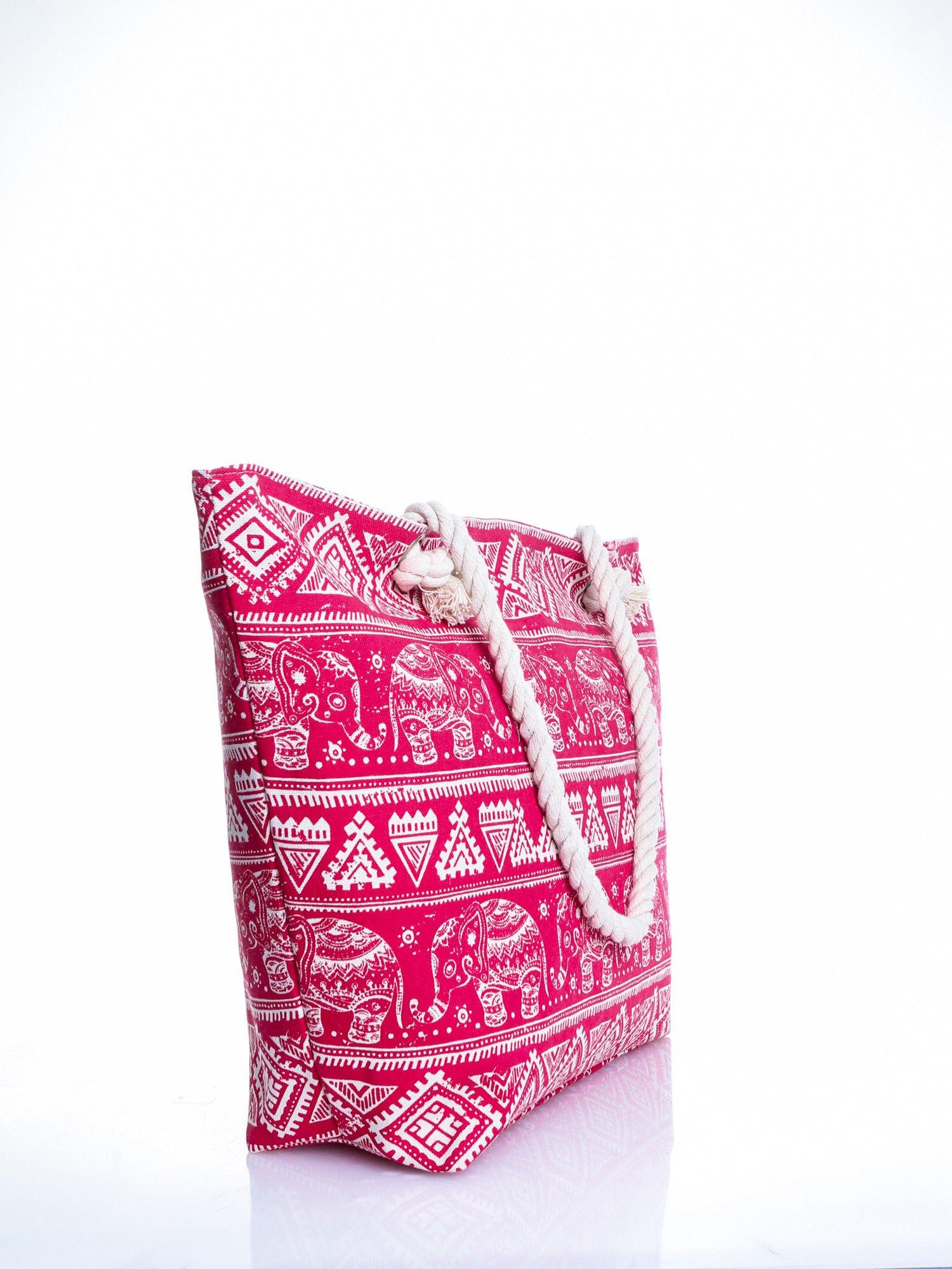 Czerwona torba plażowa w indyjskie wzory                                  zdj.                                  3