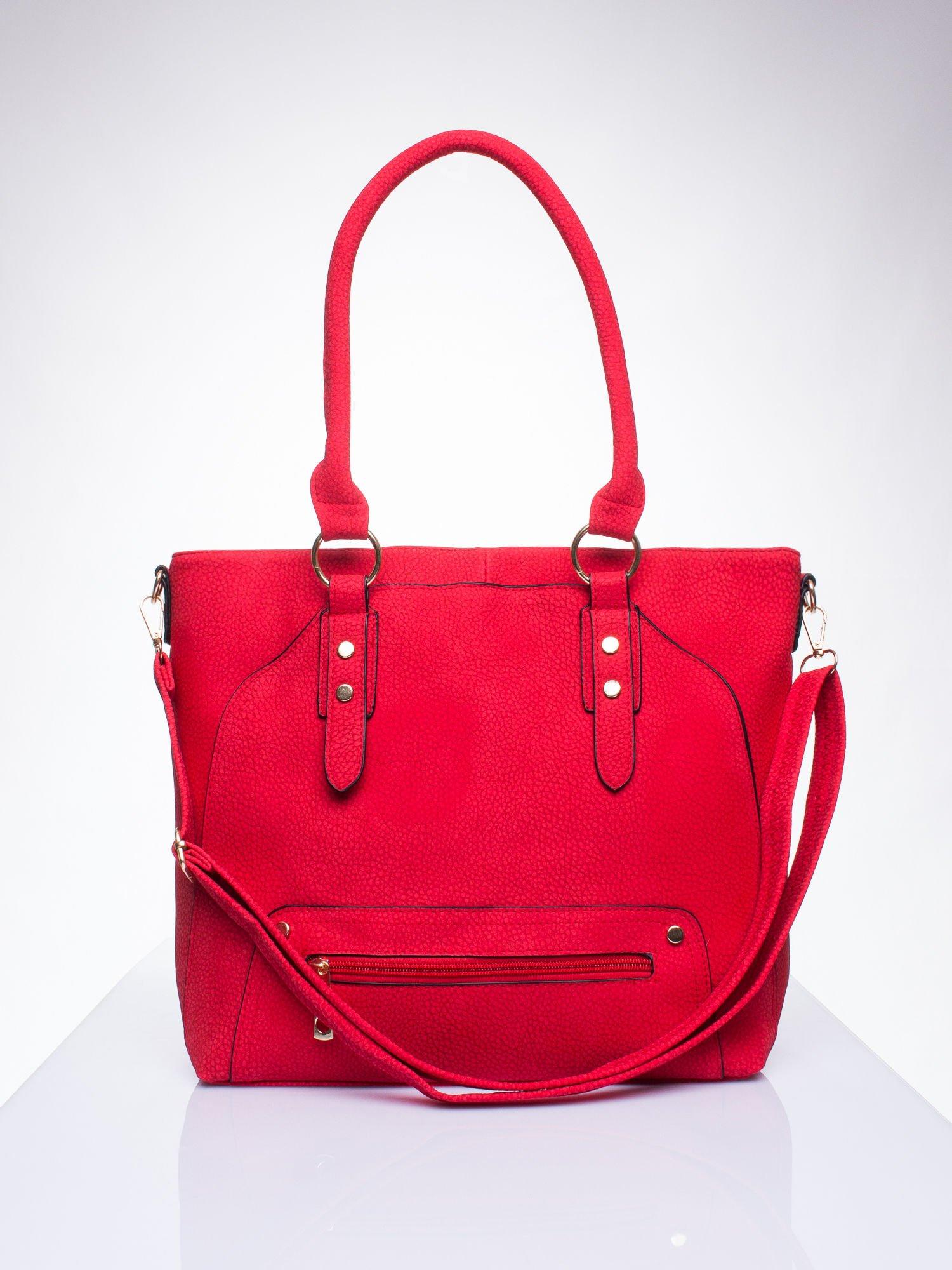 Czerwona torba shopper bag z suwakiem                                  zdj.                                  1