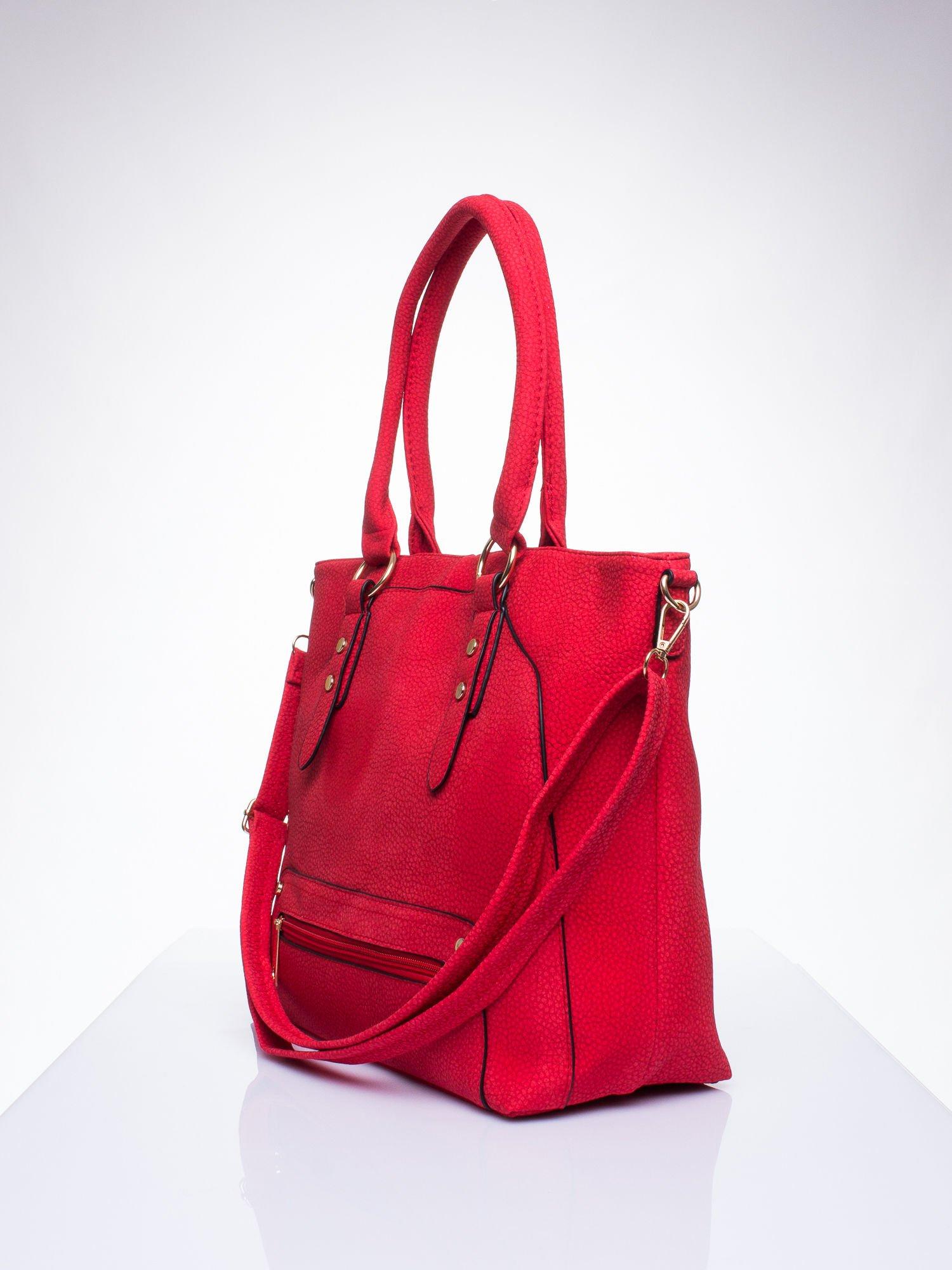 Czerwona torba shopper bag z suwakiem                                  zdj.                                  2
