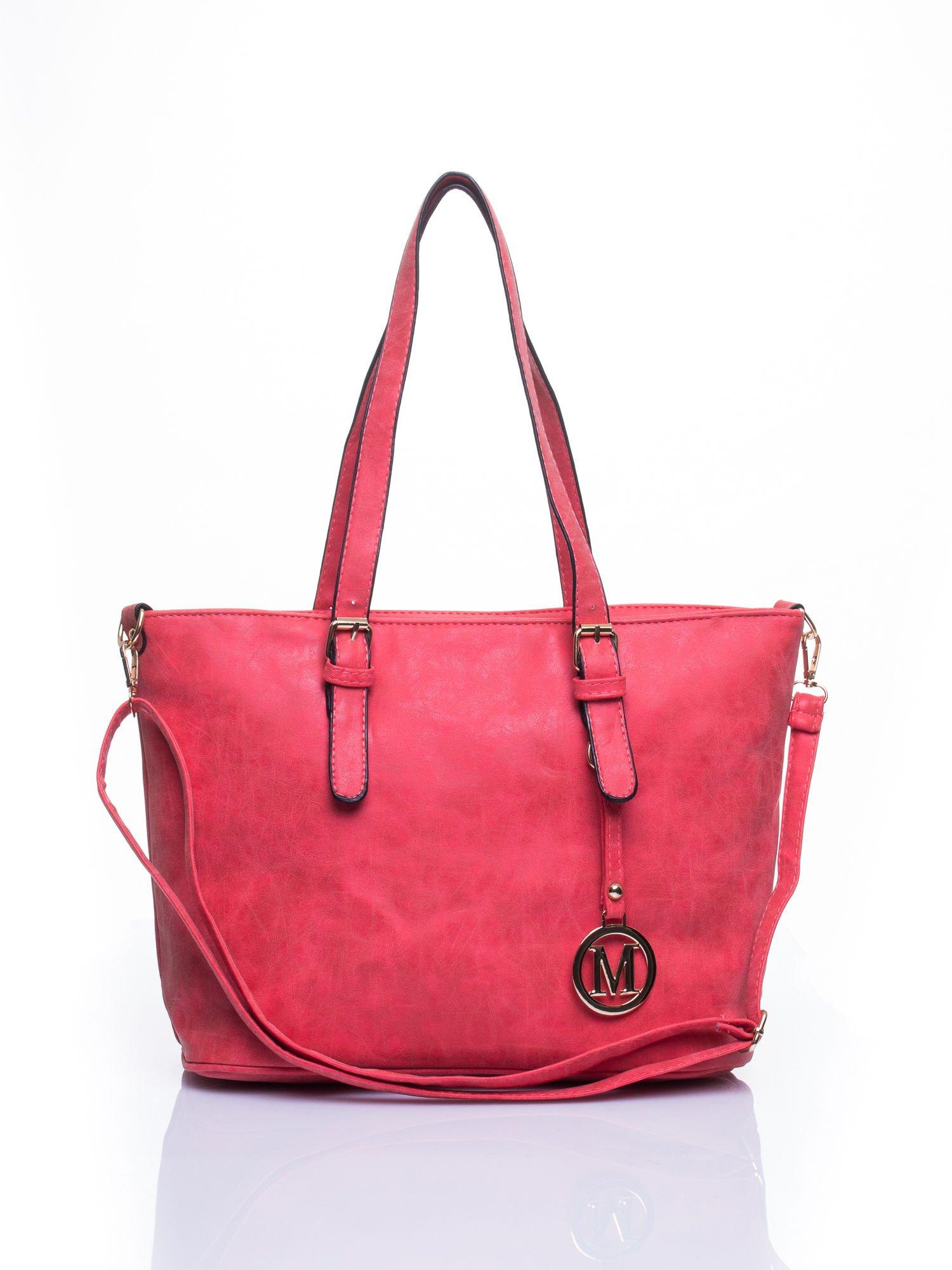 Czerwona torba shopper bag z zawieszką                                  zdj.                                  1
