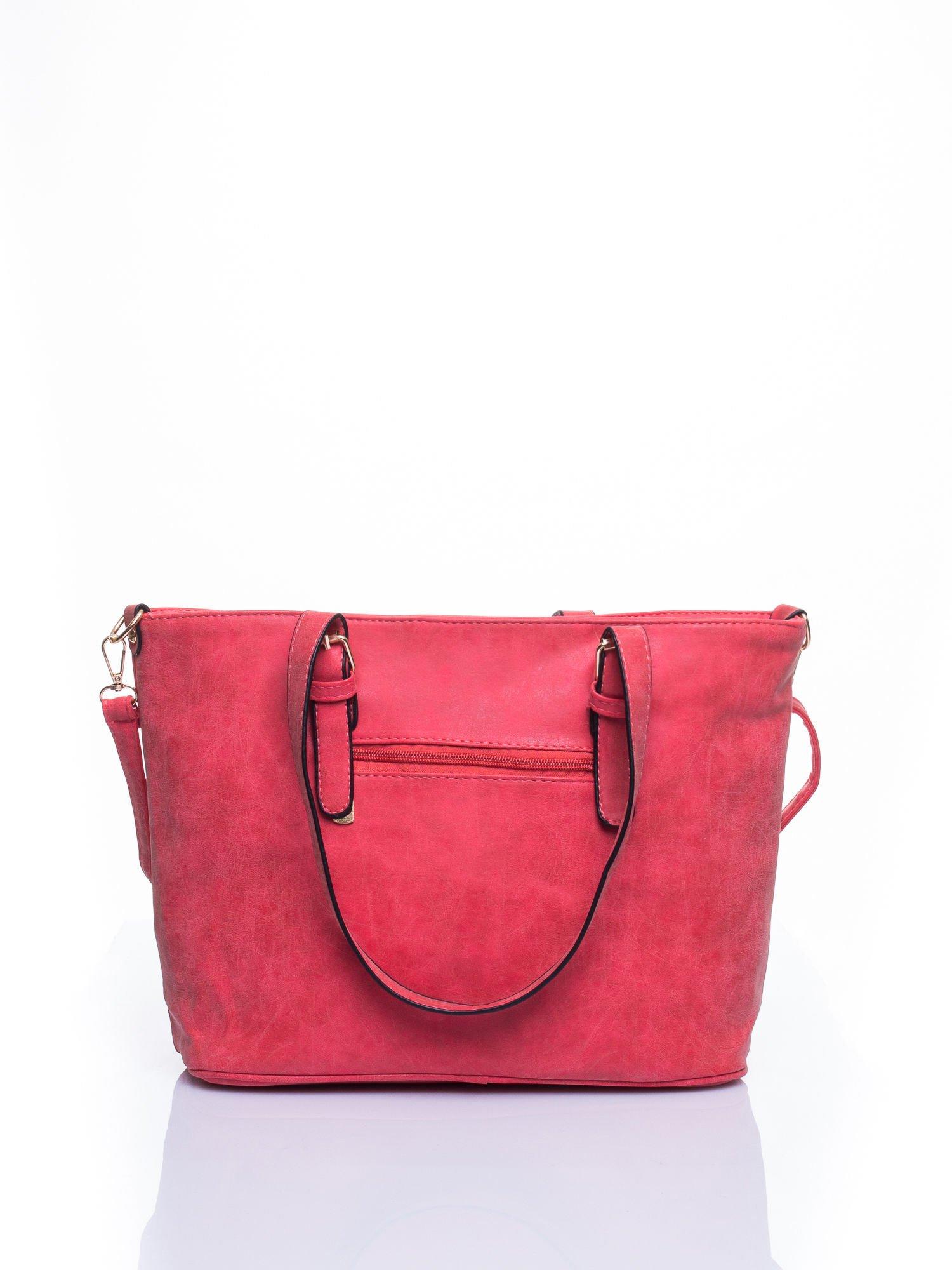 Czerwona torba shopper bag z zawieszką                                  zdj.                                  2