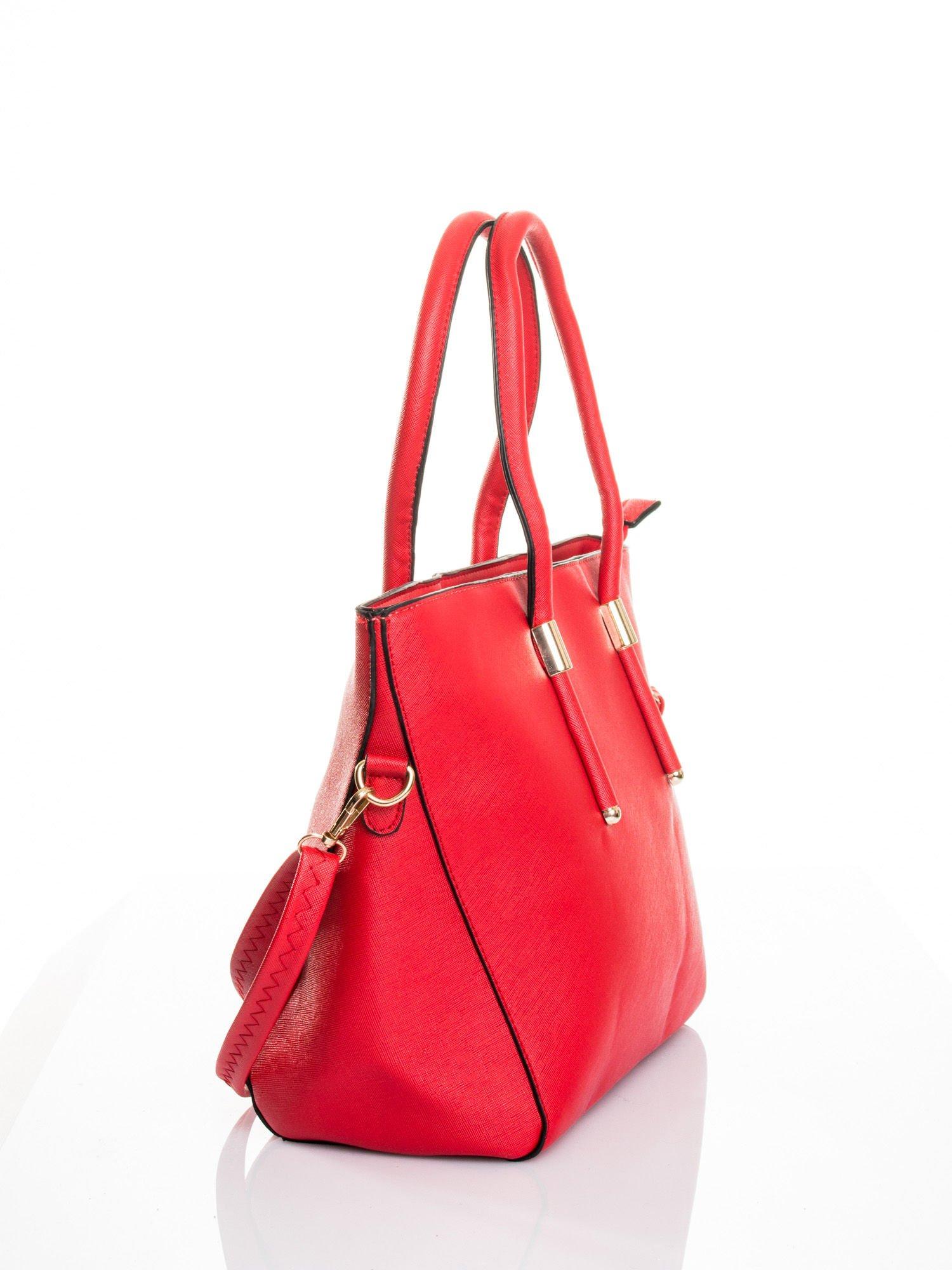 Czerwona torba shopper efekt saffiano                                  zdj.                                  4