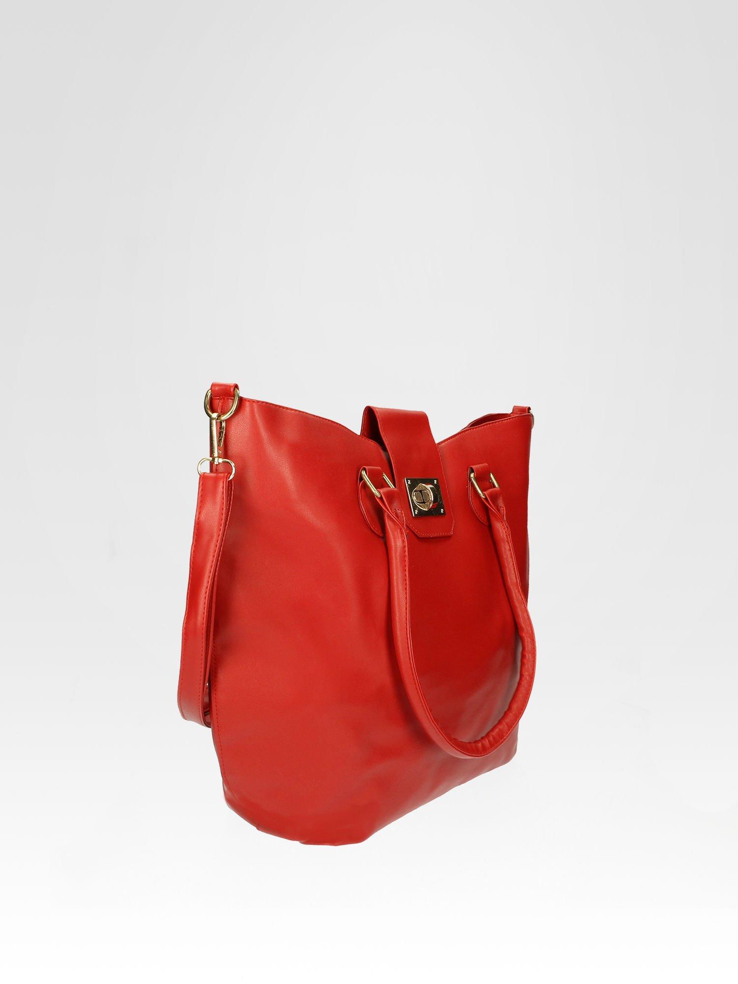 Czerwona torebka city bag z zatrzaskiem                                  zdj.                                  2