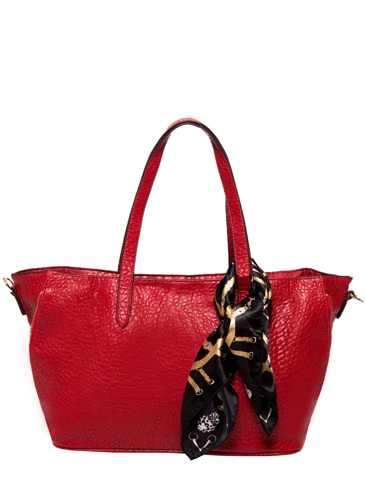 Czerwona torebka shopper bag z apaszką                                  zdj.                                  1