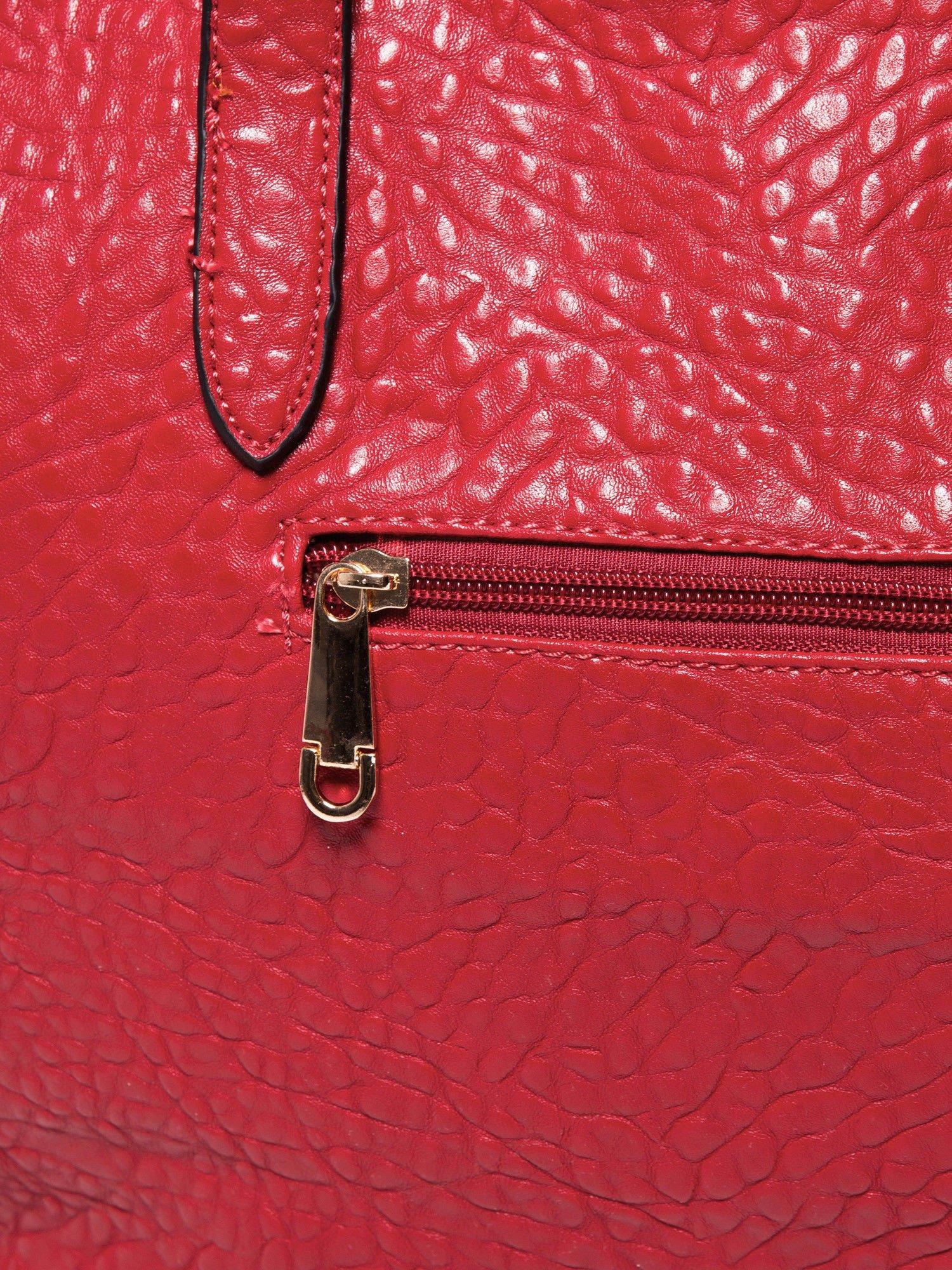 Czerwona torebka shopper bag z apaszką                                  zdj.                                  7