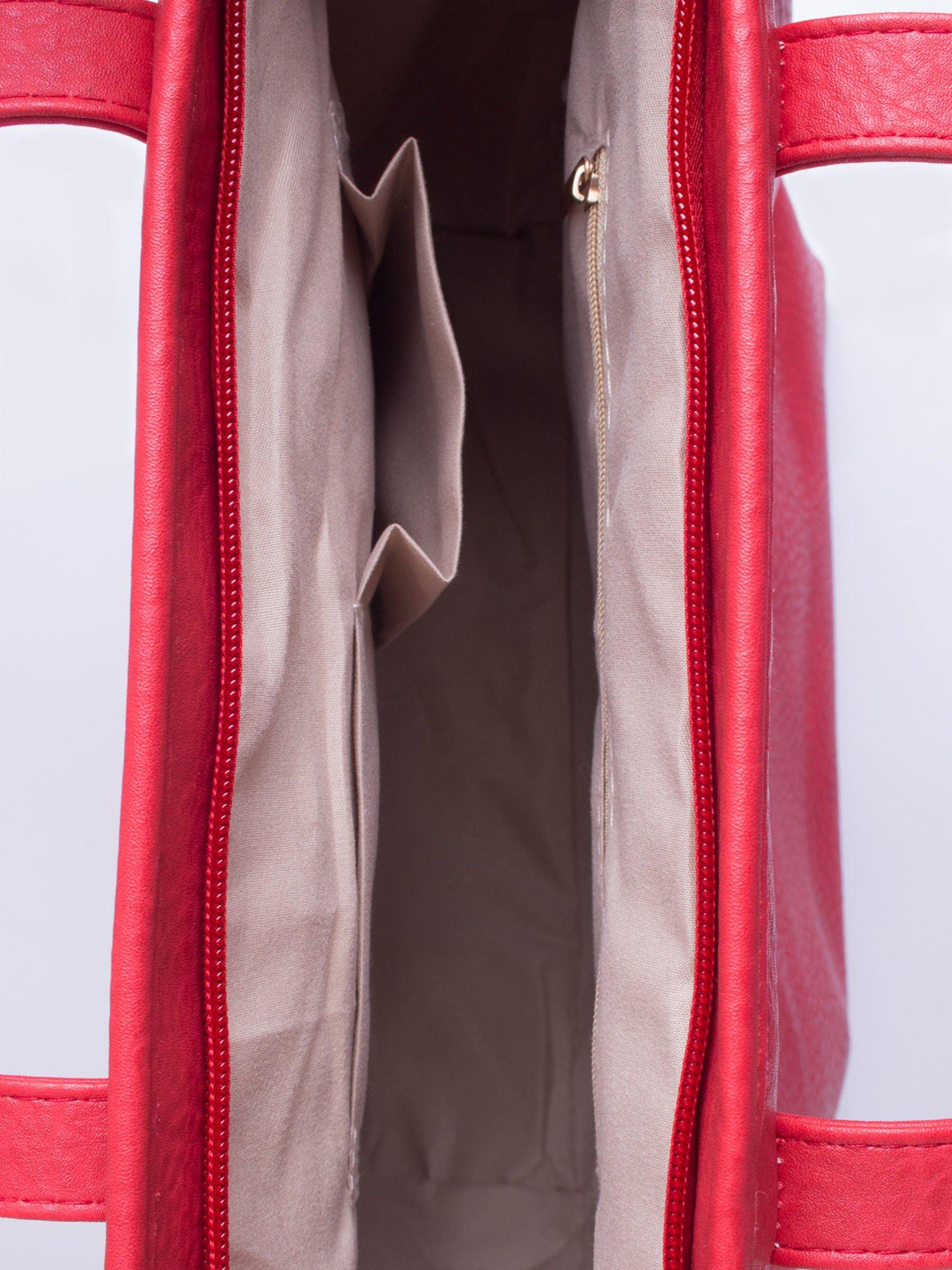 Czerwona torebka shopper bag z kokardką                                  zdj.                                  5