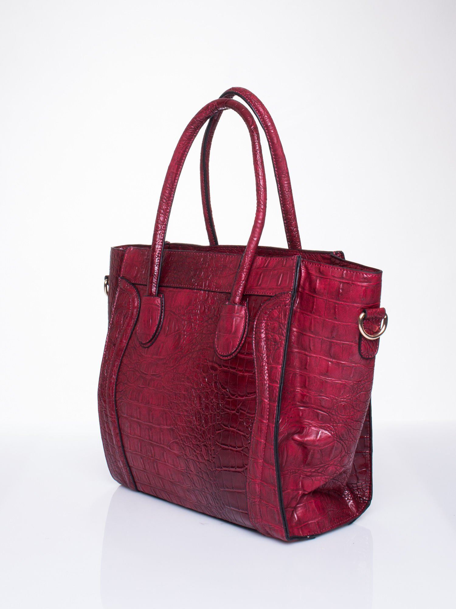 Czerwona trapezowa torba miejska z efektem skóry krokodyla                                  zdj.                                  3