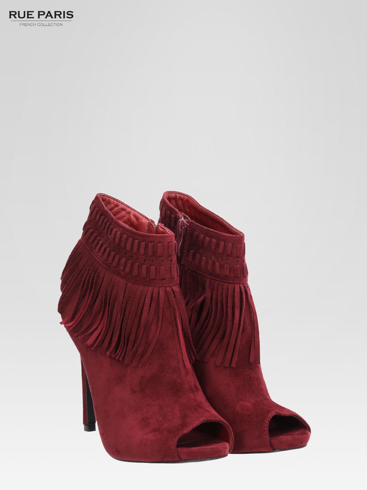 Czerwone botki faux suede Suzie open toe z frędzlami w stylu boho                                  zdj.                                  3