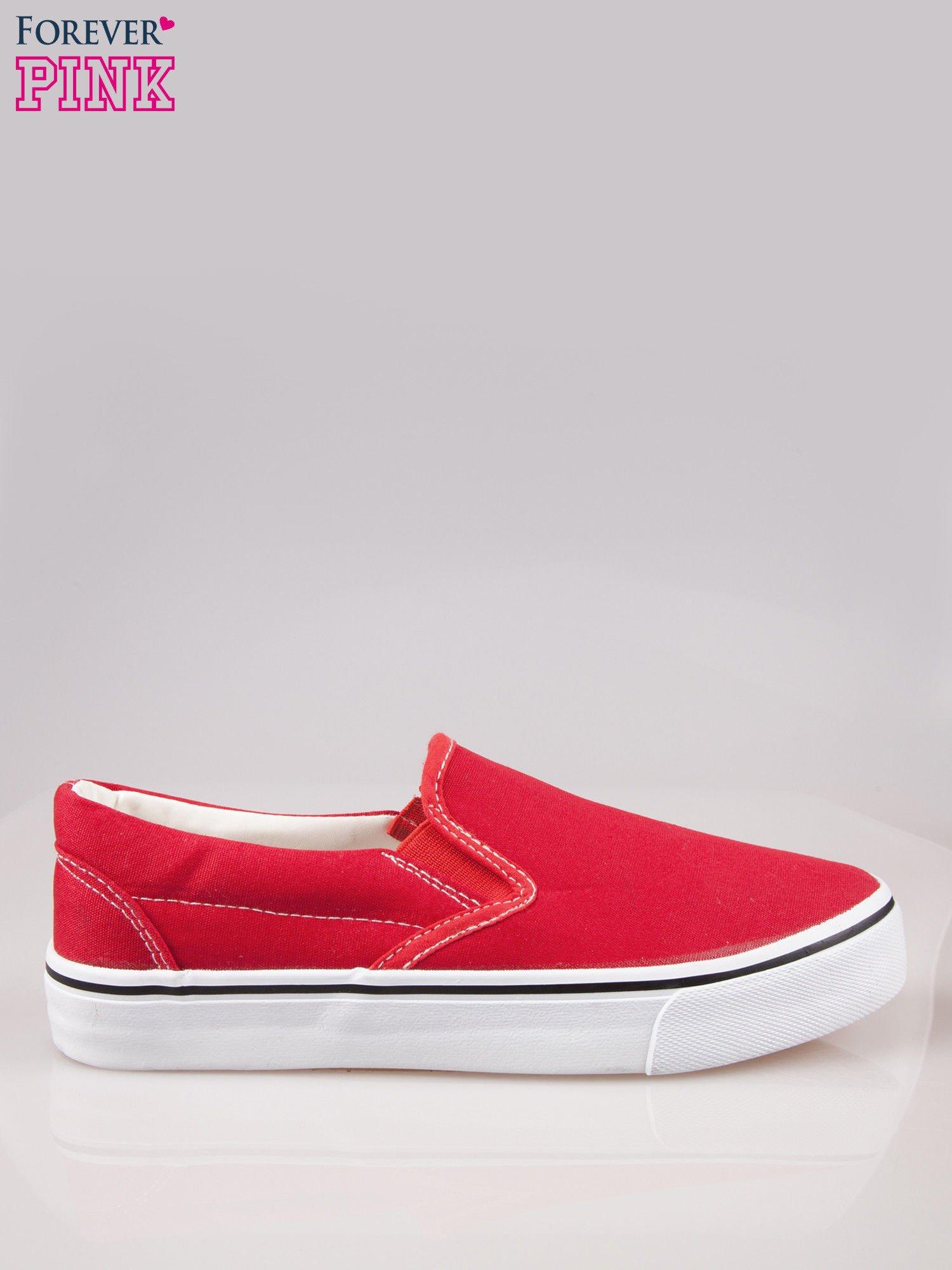 Czerwone buty slip on na grubej podeszwie                                  zdj.                                  1