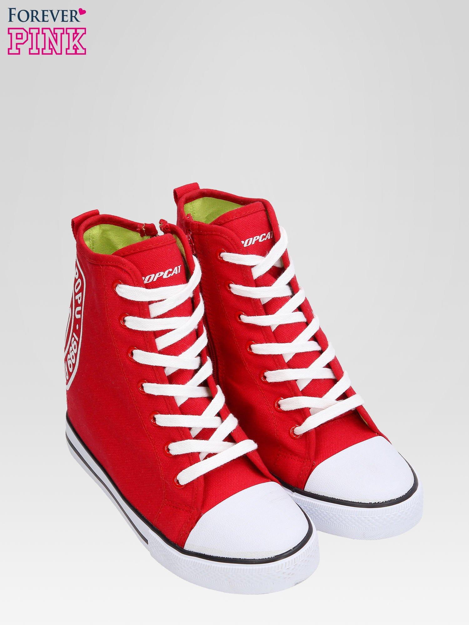 Czerwone trampki na koturnie sneakersy z logo                                  zdj.                                  6