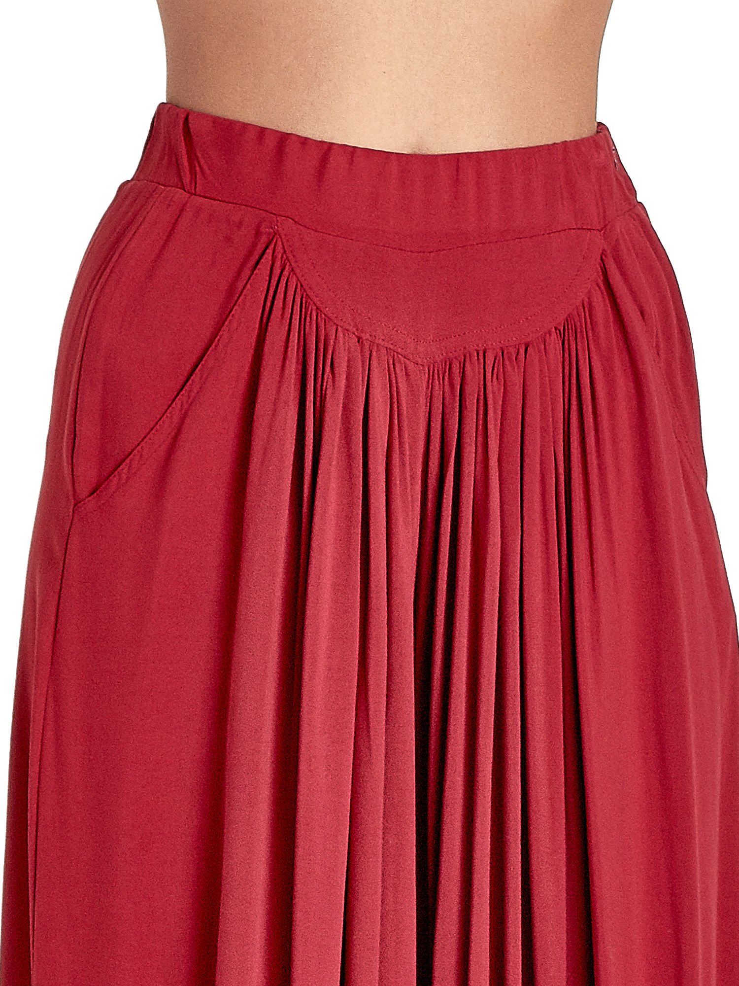Czerwone zwiewne spodnie typu culottes                                  zdj.                                  7