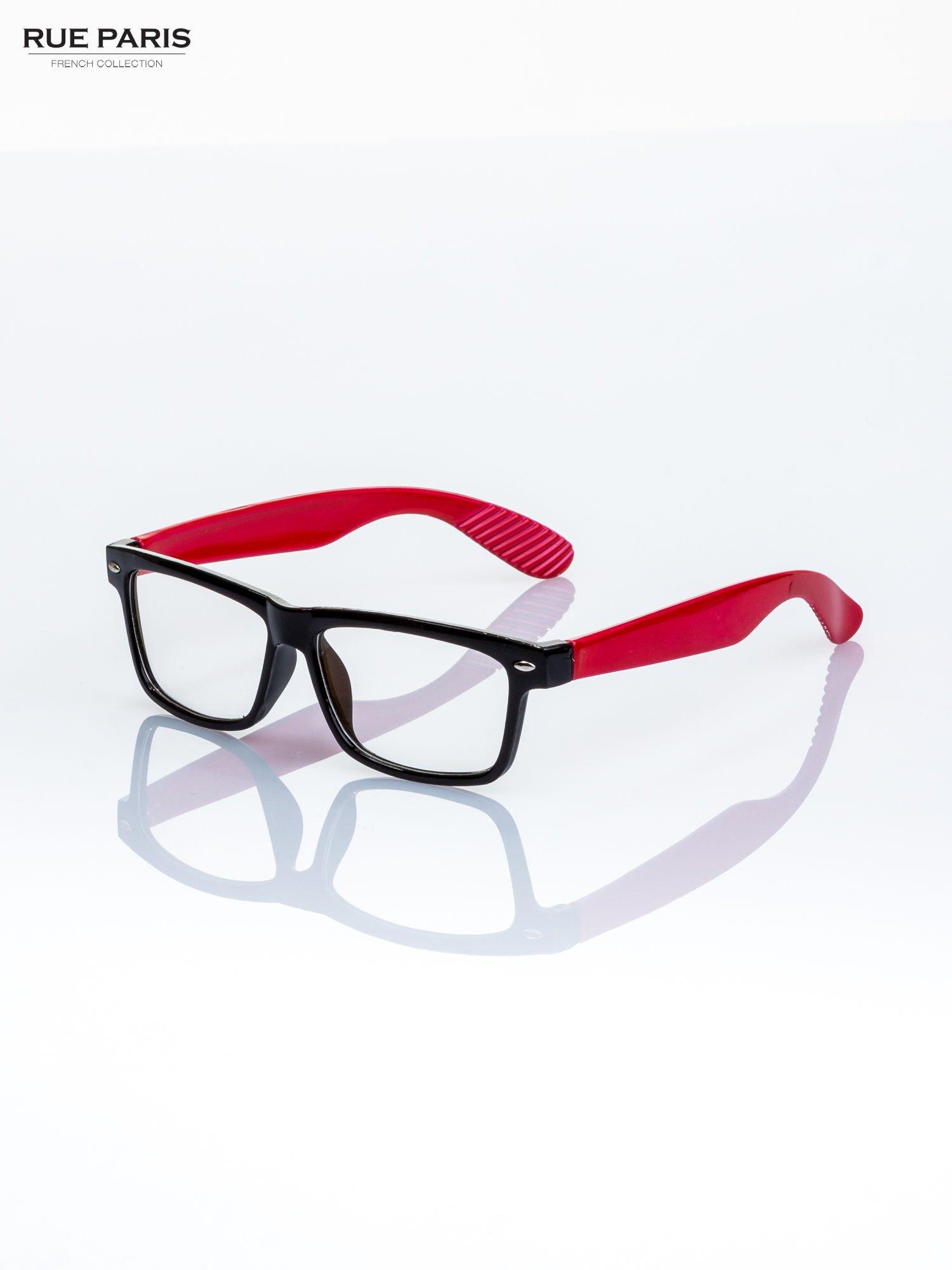 db9b78dff7a2da Czerwono-czarne okulary zerówki kujonki typu WAYFARER NERDY ...