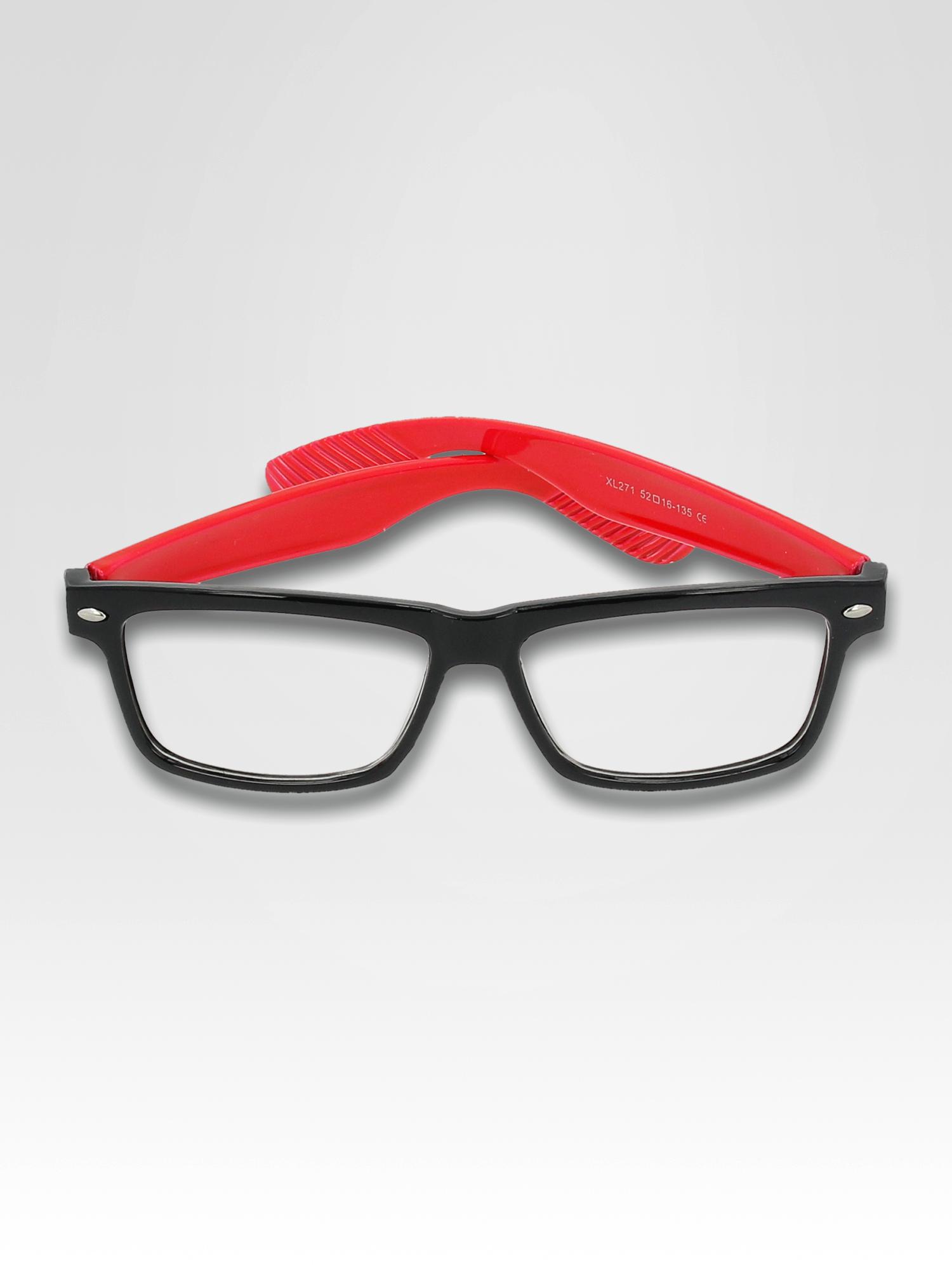 Czerwono-czarne okulary zerówki kujonki typu WAYFARER NERDY                                  zdj.                                  3
