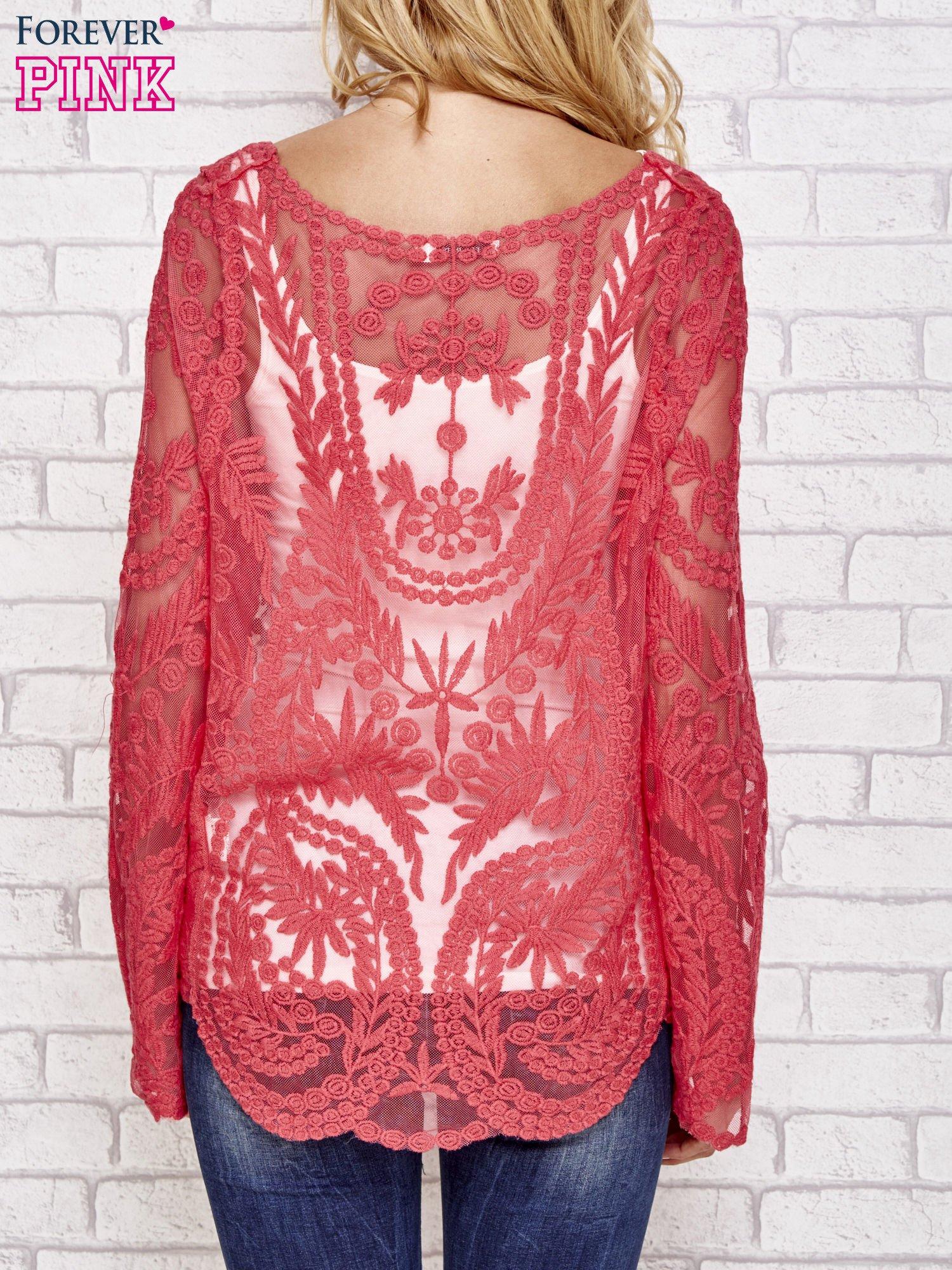 Czerwony ażurowy sweterk mgiełka z rozszerzanymi rękawami                                  zdj.                                  4