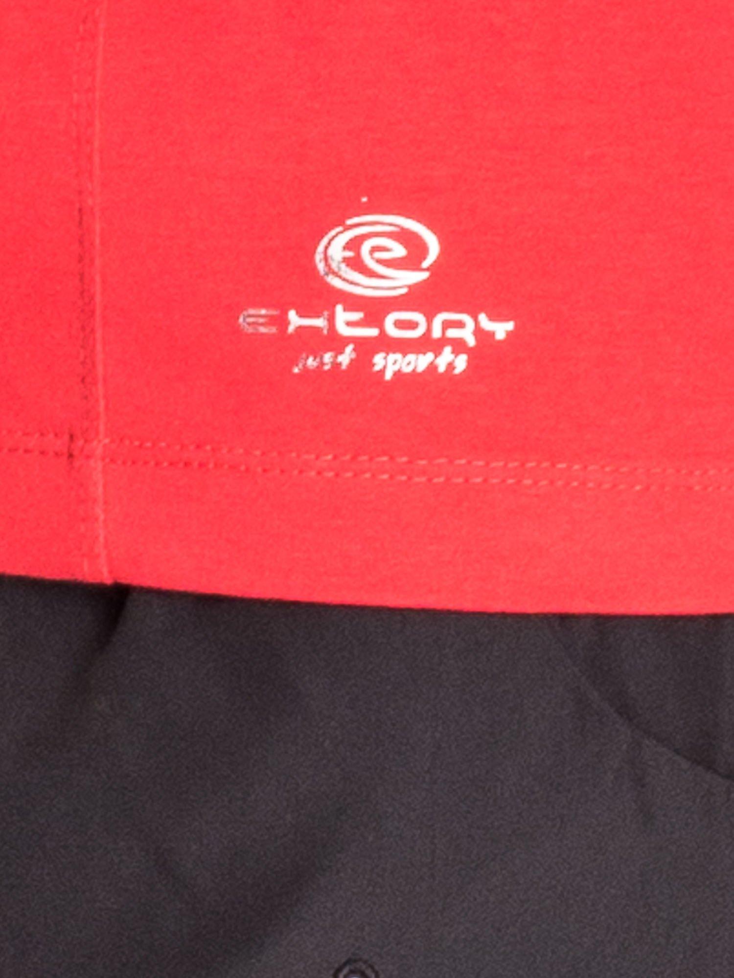 Czerwony damski t-shirt sportowy basic                                  zdj.                                  5