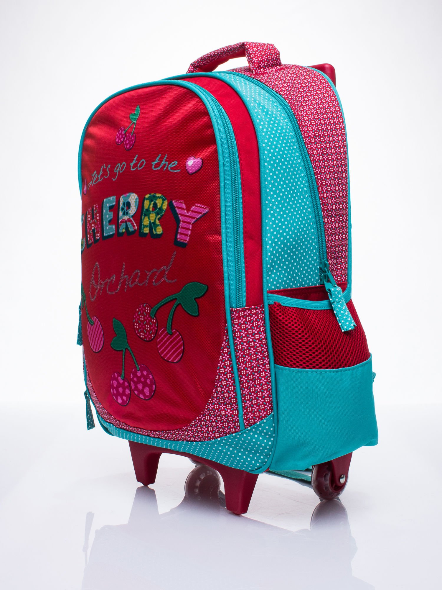 Czerwony plecak szkolny na kółkach walizka DISNEY w wisienki                                  zdj.                                  2
