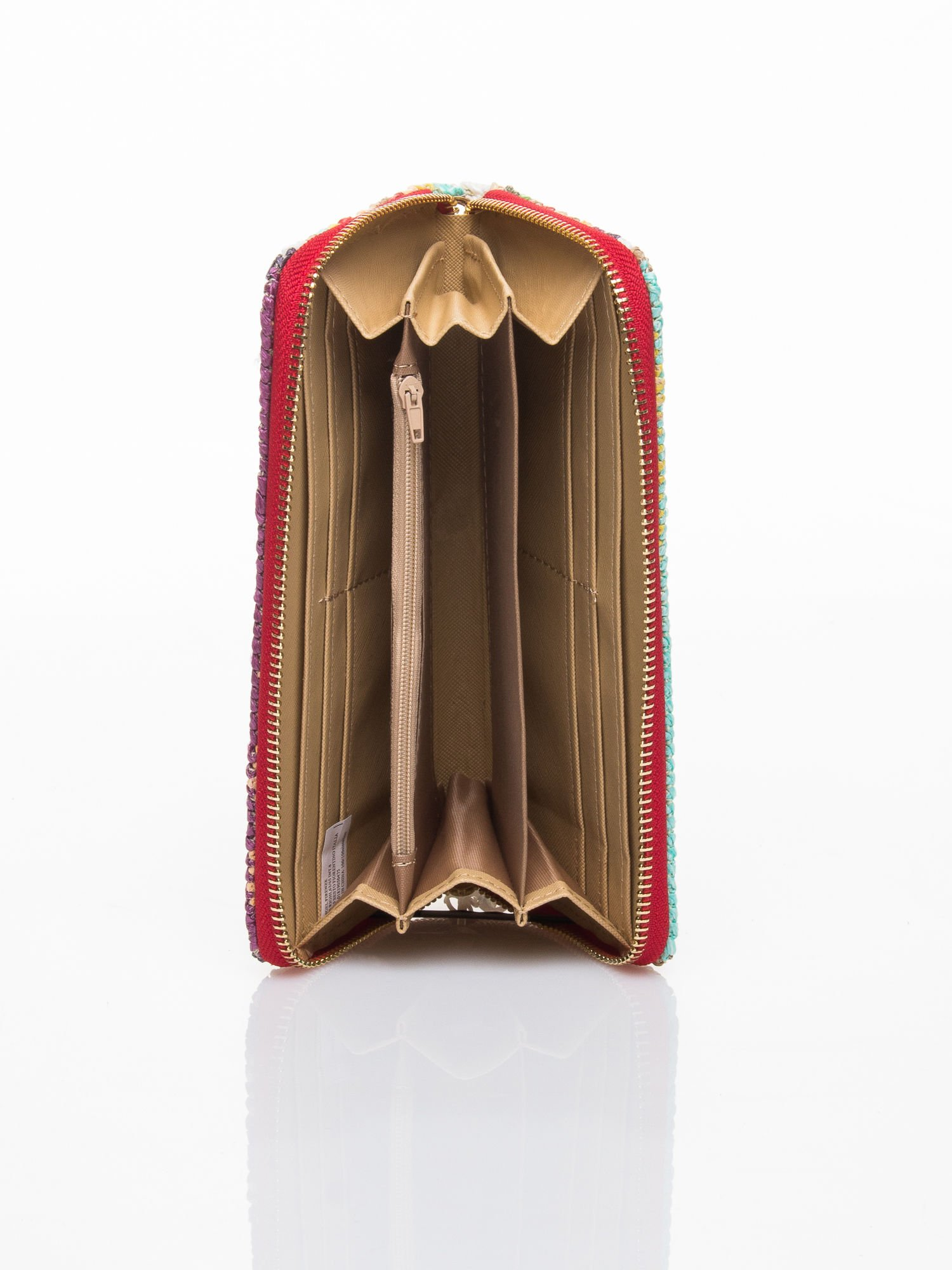 Czerwony pleciony portfel w paski                                  zdj.                                  4