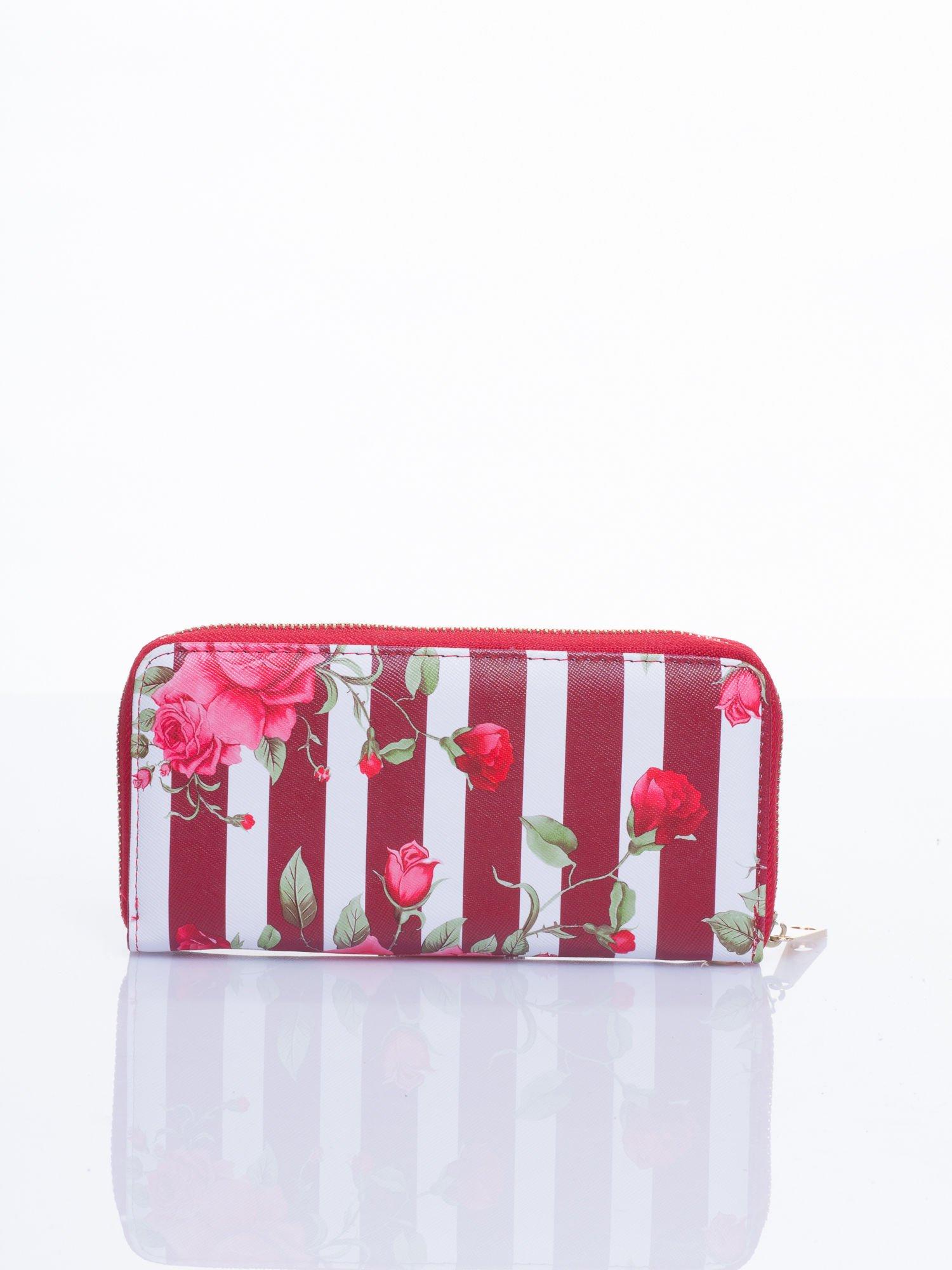 Czerwony portfel w kwiaty efekt saffiano                                  zdj.                                  3