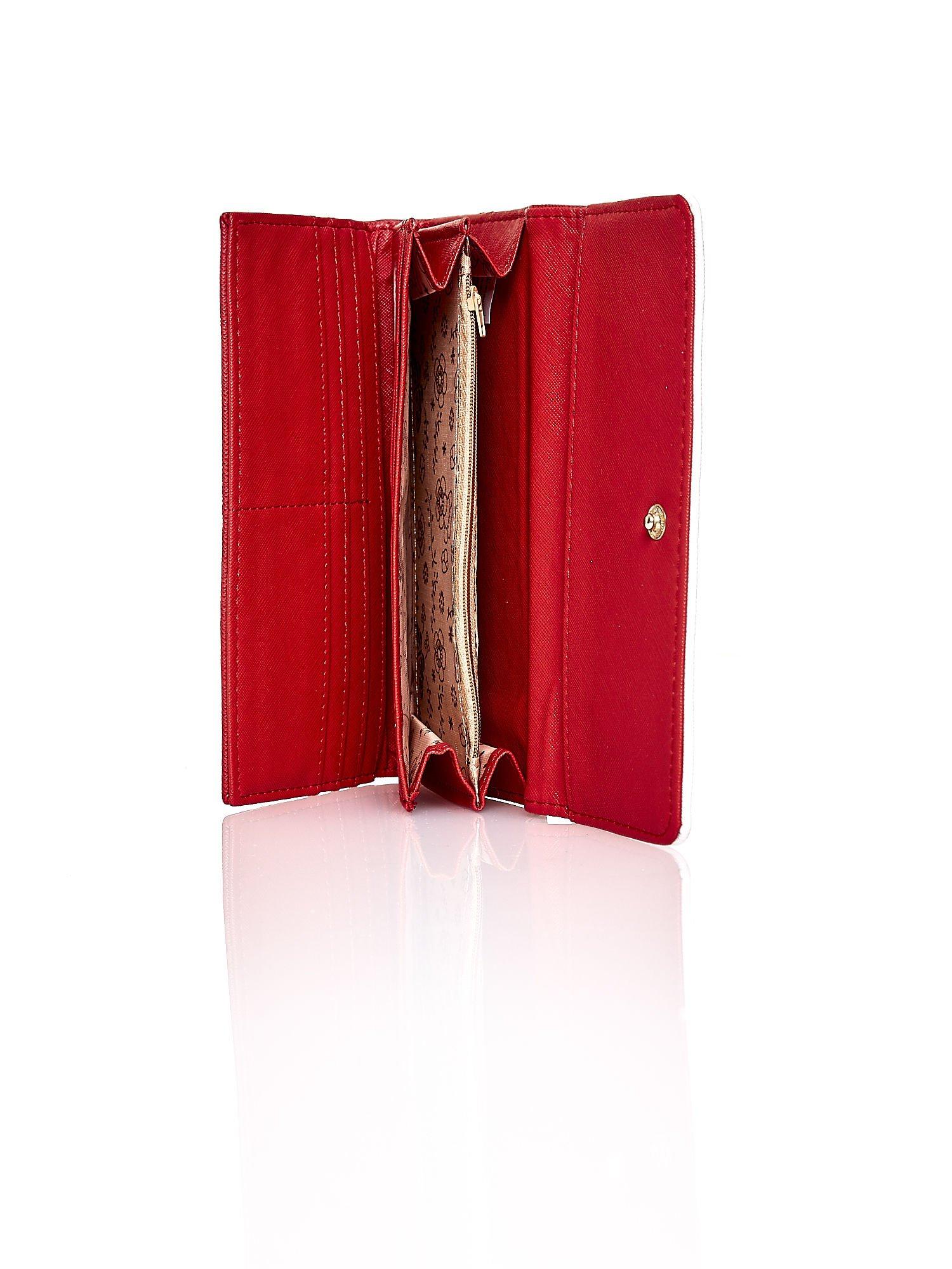 Czerwony portfel z białym wykończeniem                                  zdj.                                  5