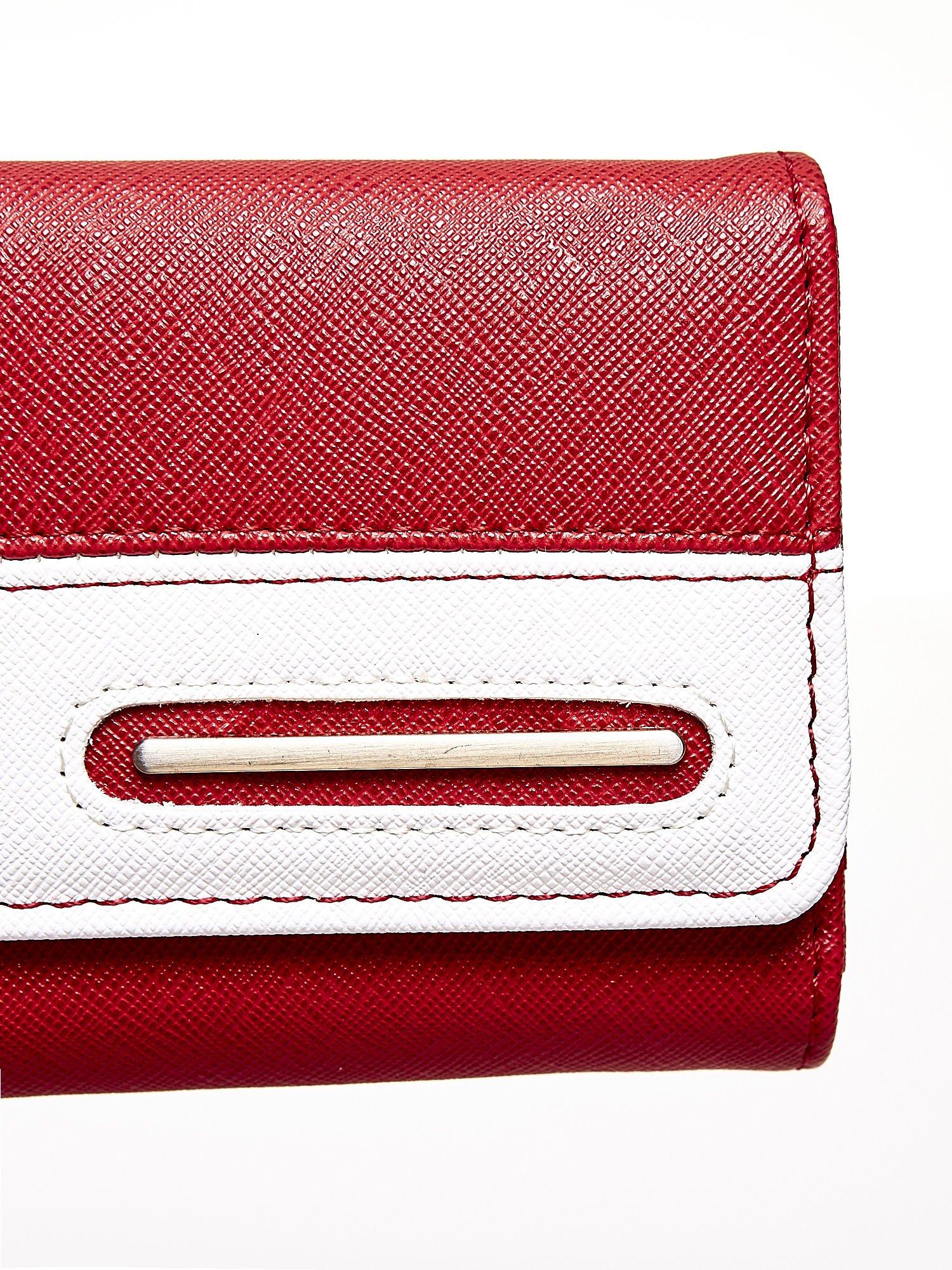 Czerwony portfel z białym wykończeniem                                  zdj.                                  6