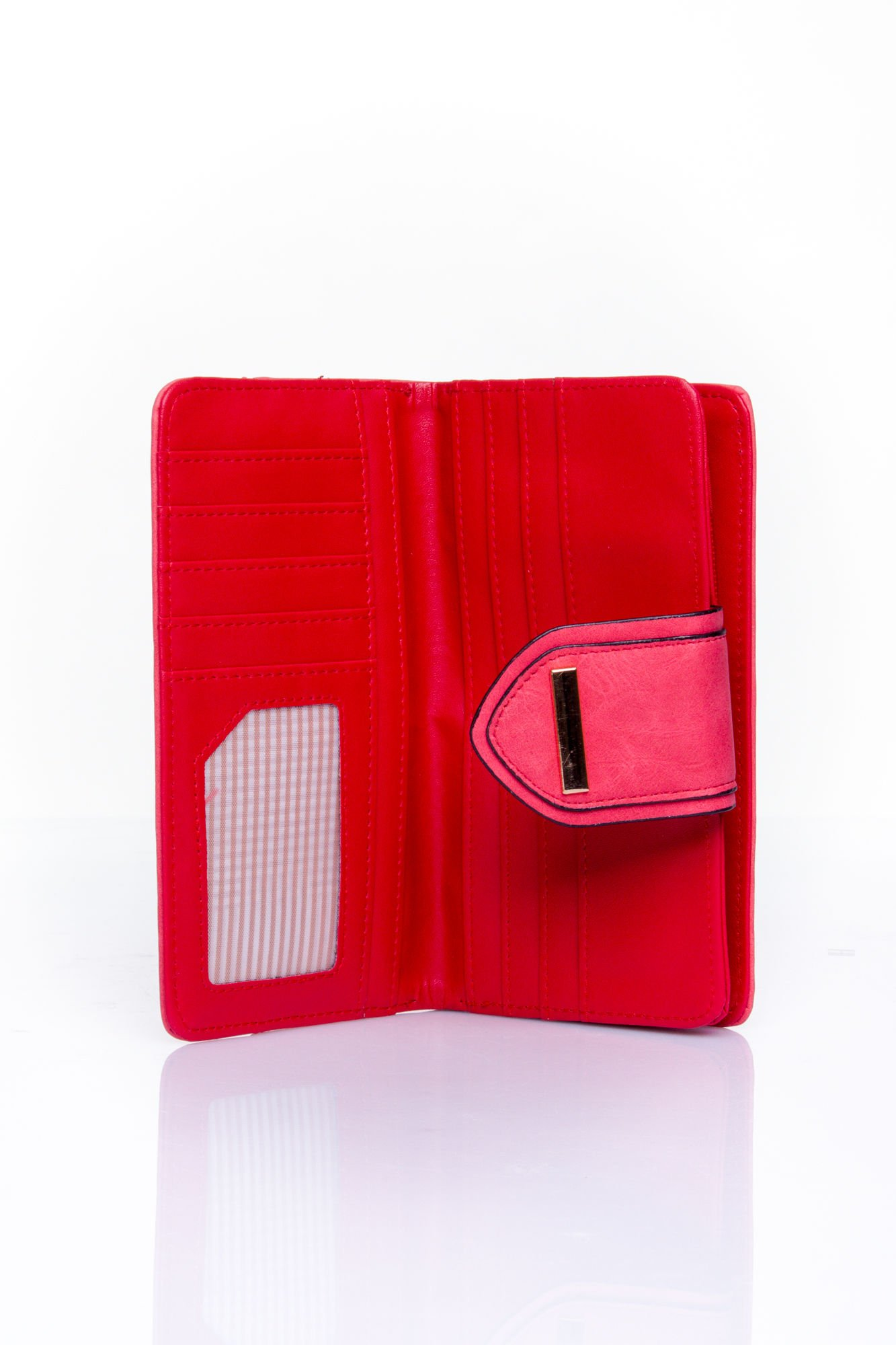 Czerwony portfel z ozdobnym zapięciem                                  zdj.                                  4