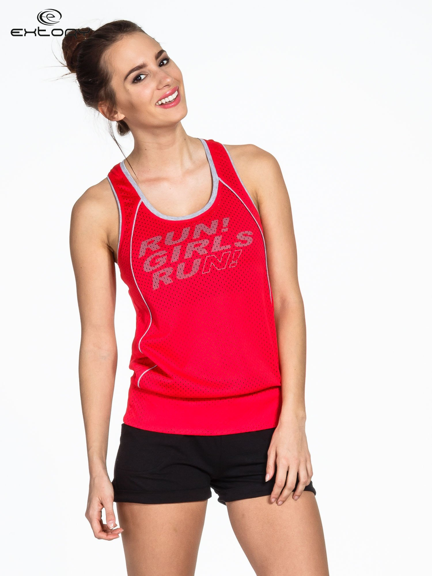 Czerwony siatkowy top sportowy z napisem RUN GIRLS RUN                                  zdj.                                  1