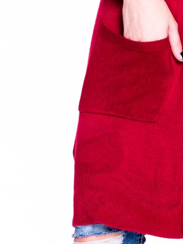 Czerwony sweter długi kardigan z kieszeniami                                  zdj.                                  5