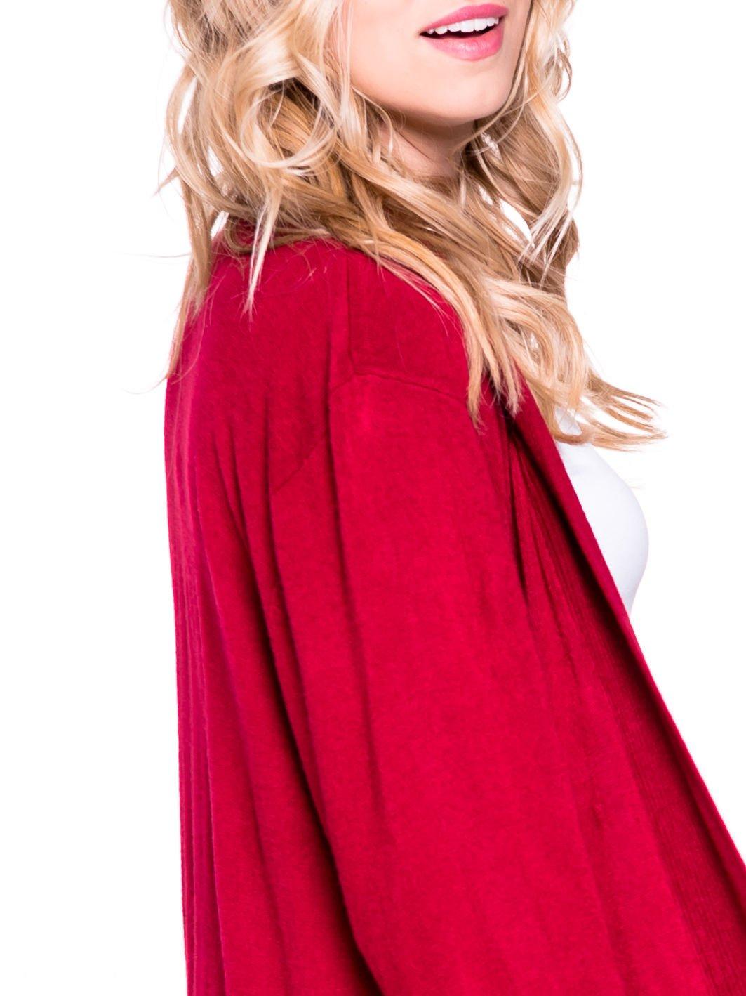 Czerwony sweter długi kardigan z kieszeniami                                  zdj.                                  4