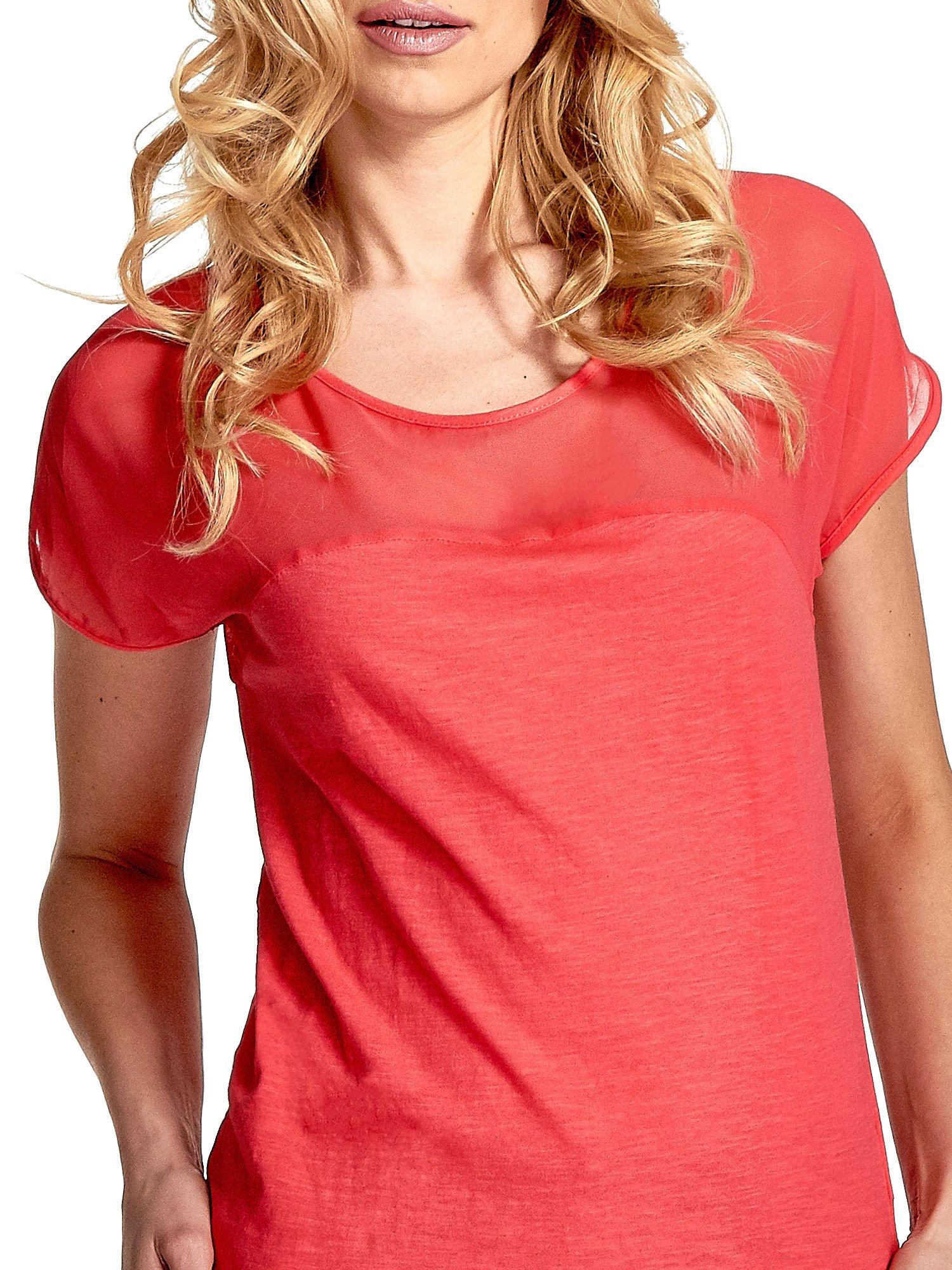 Czerwony t-shirt z górą mgiełką                                  zdj.                                  5