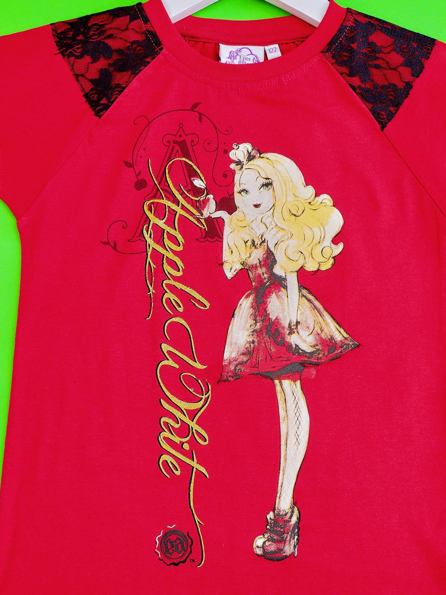Czerwony t-shirt z koronką dla dziewczynki EVER AFTER HIGH                                  zdj.                                  4