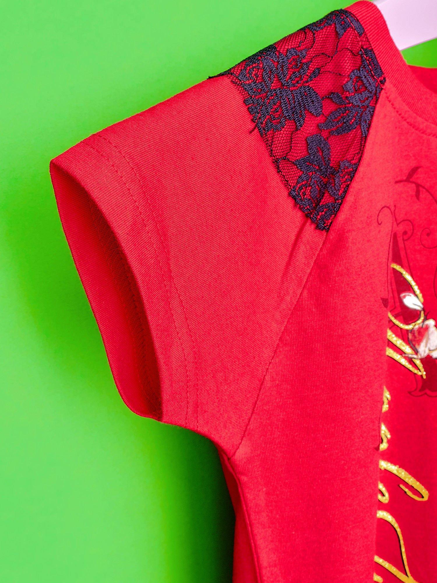 Czerwony t-shirt z koronką dla dziewczynki EVER AFTER HIGH                                  zdj.                                  6