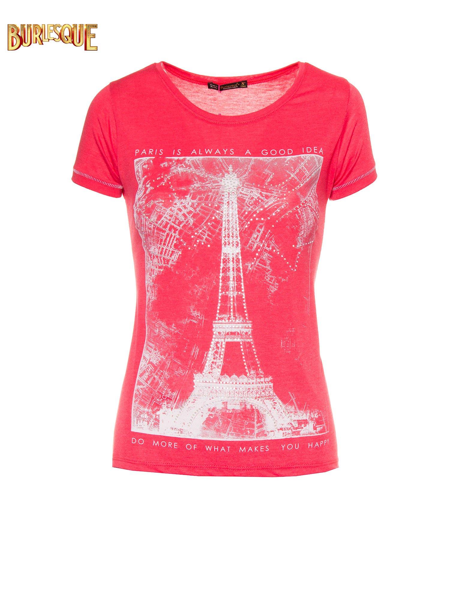 Czerwony t-shirt z nadrukiem wieży Eiffla                                  zdj.                                  1