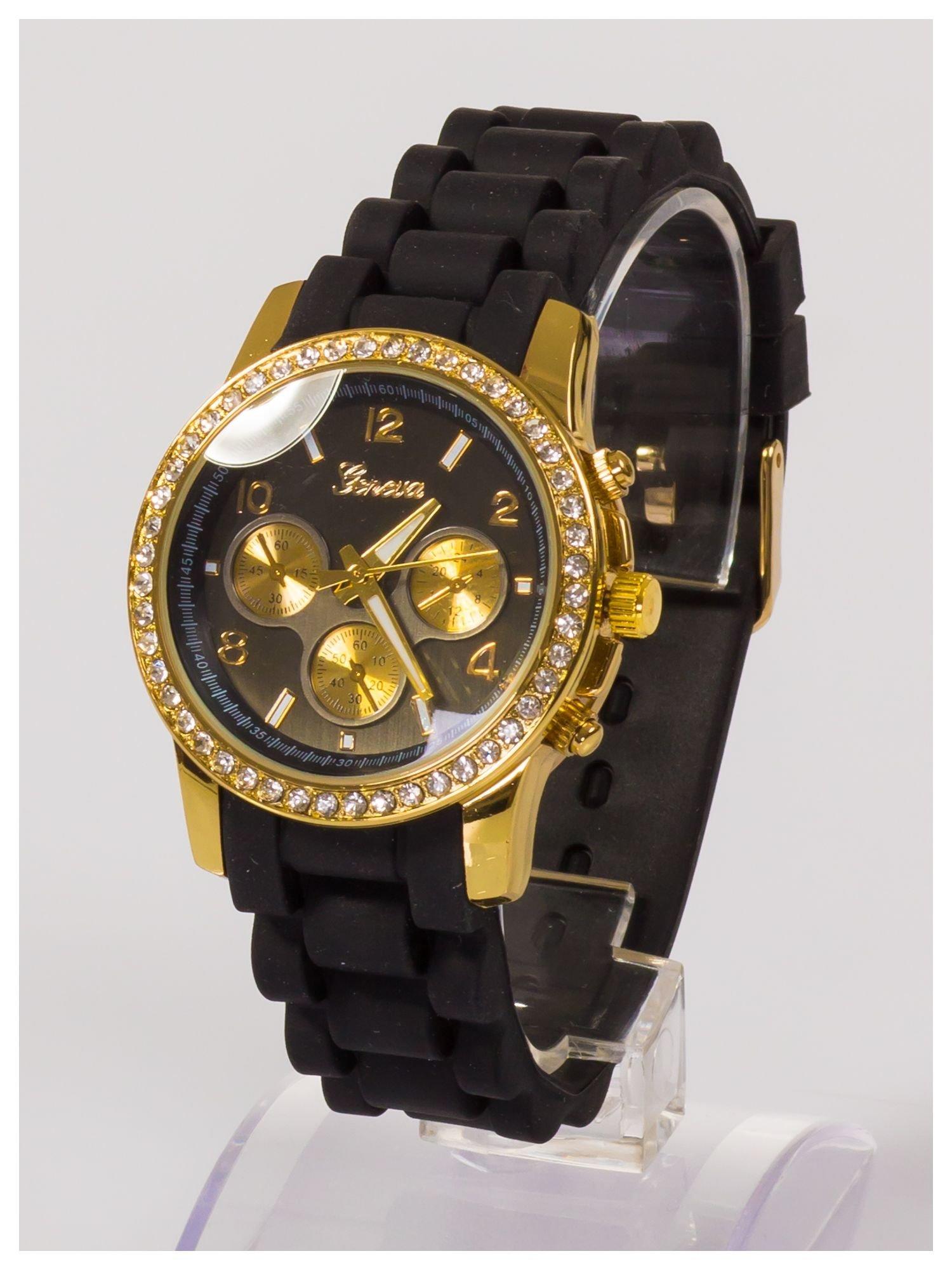 Damski zegarek z cyrkoniami i ozdobnym chronografem na wygodnym silikonowym pasku                                  zdj.                                  3